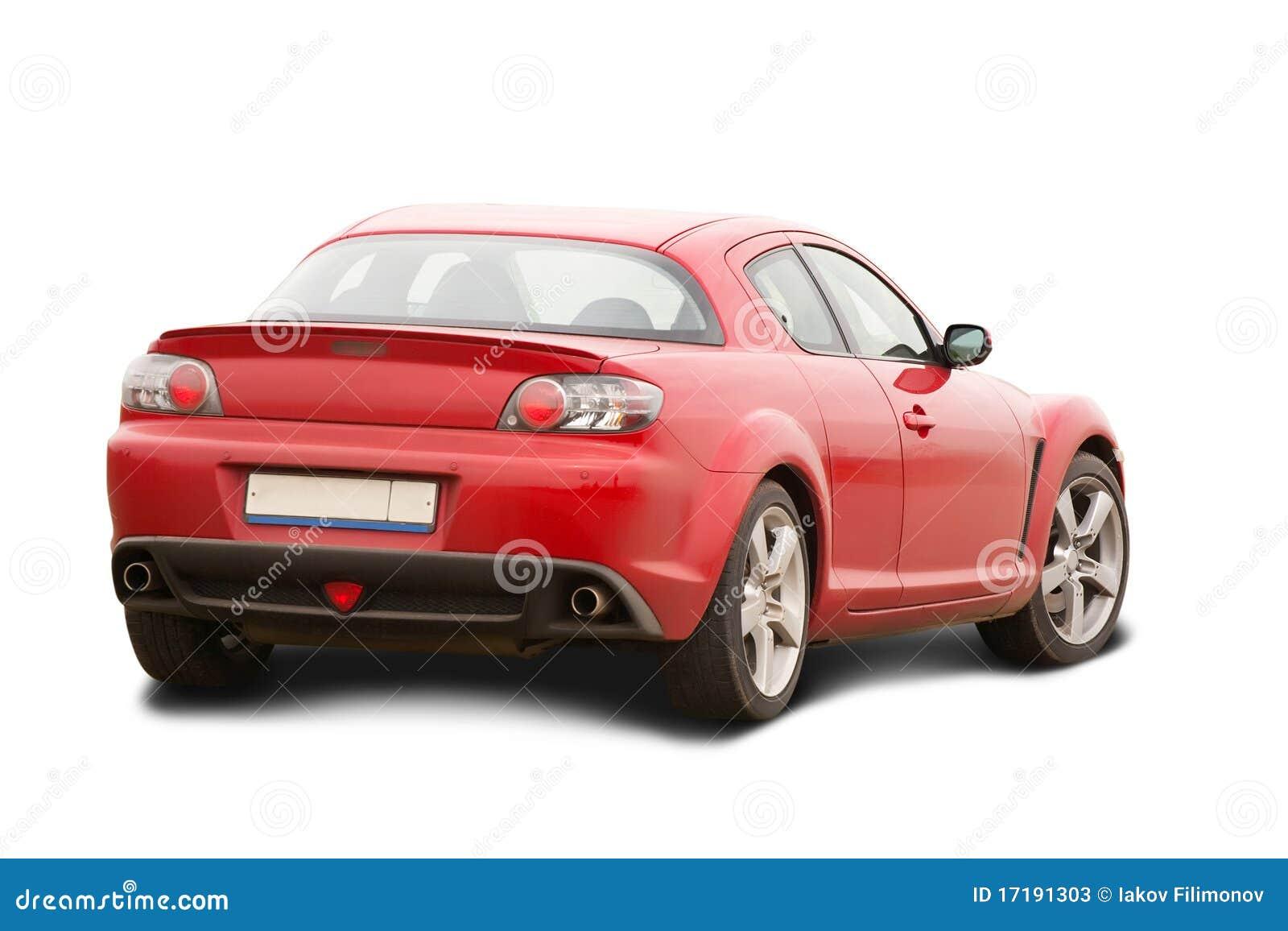 Automotor rojo en blanco