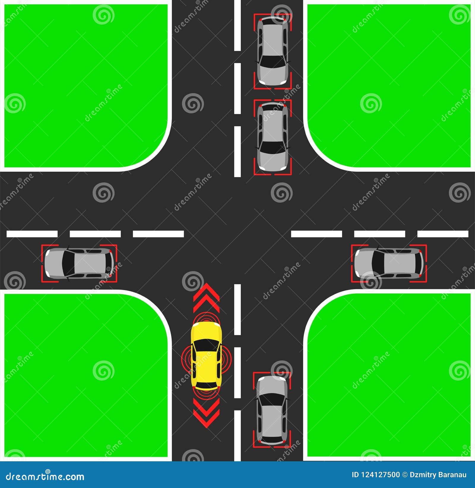 Autonom bakgrund för bästa sikt för bil Digital medel ovanför illustration Symbol för vektor för smart designsjälv isolerat drive