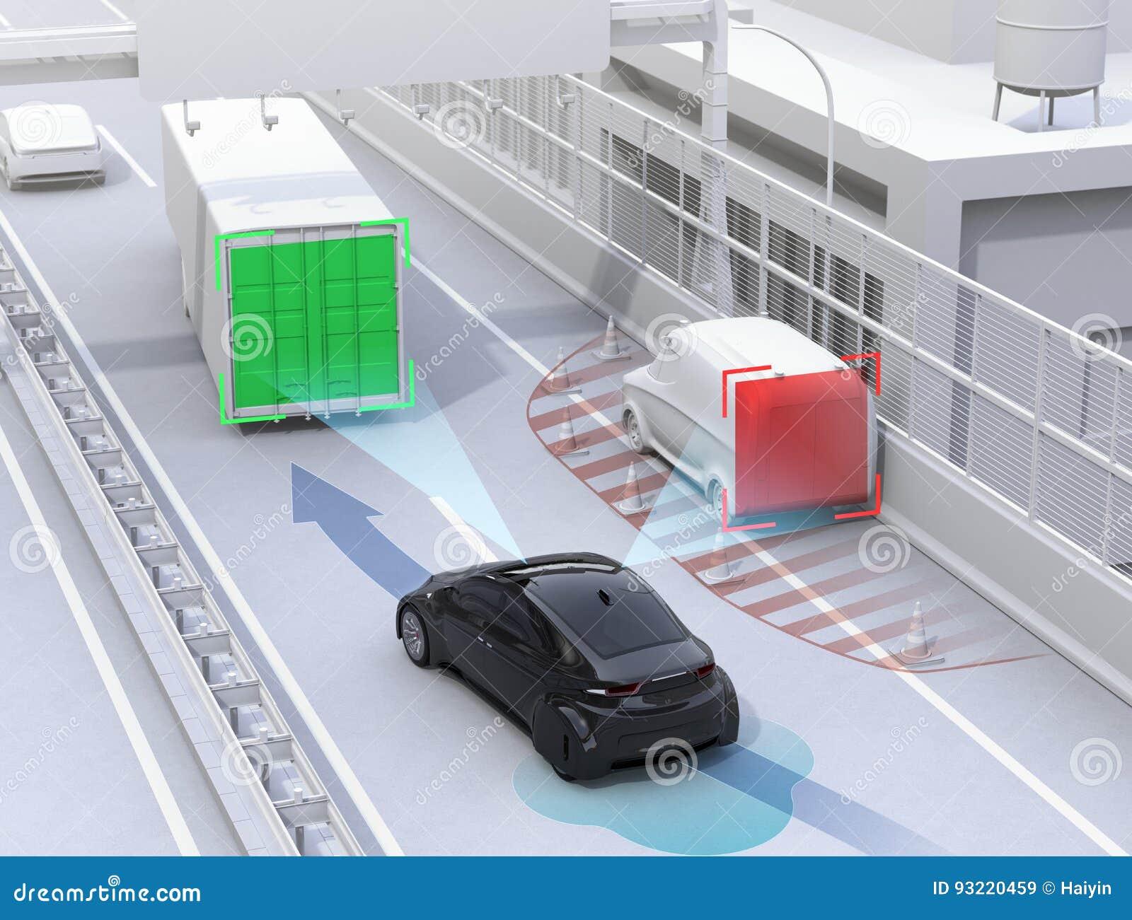 Autonome auto veranderende steeg snel om een verkeersongeval te vermijden