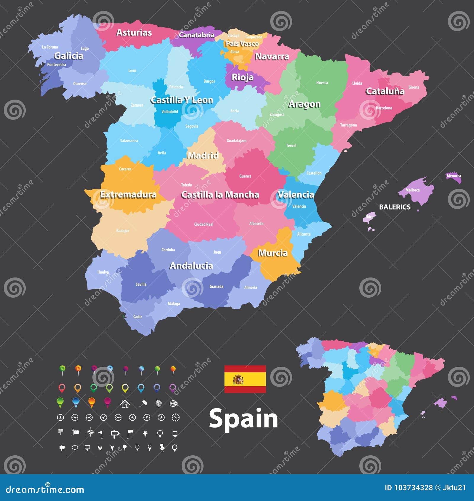 Autonome Regionen Spanien Karte.Autonome Gemeinschaften Und Provinzen Vector Karte Von