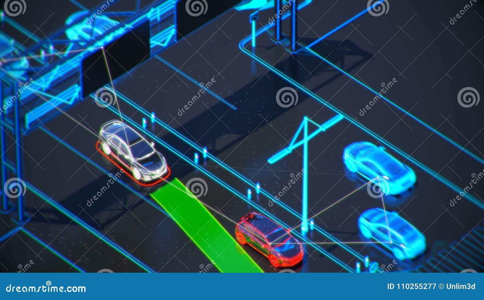 Autonome systemu transportu pojęcie, mądrze miasto, internet rzeczy, pojazd pojazd, pojazd infrastruktura