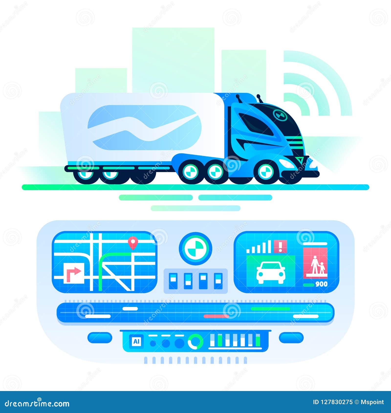 Autonome zelf-drijft vrachtwagen op de weg Het centrum van het afstandsbedieningvervoer Onbemande vrachtwagen, toekomstige futuri