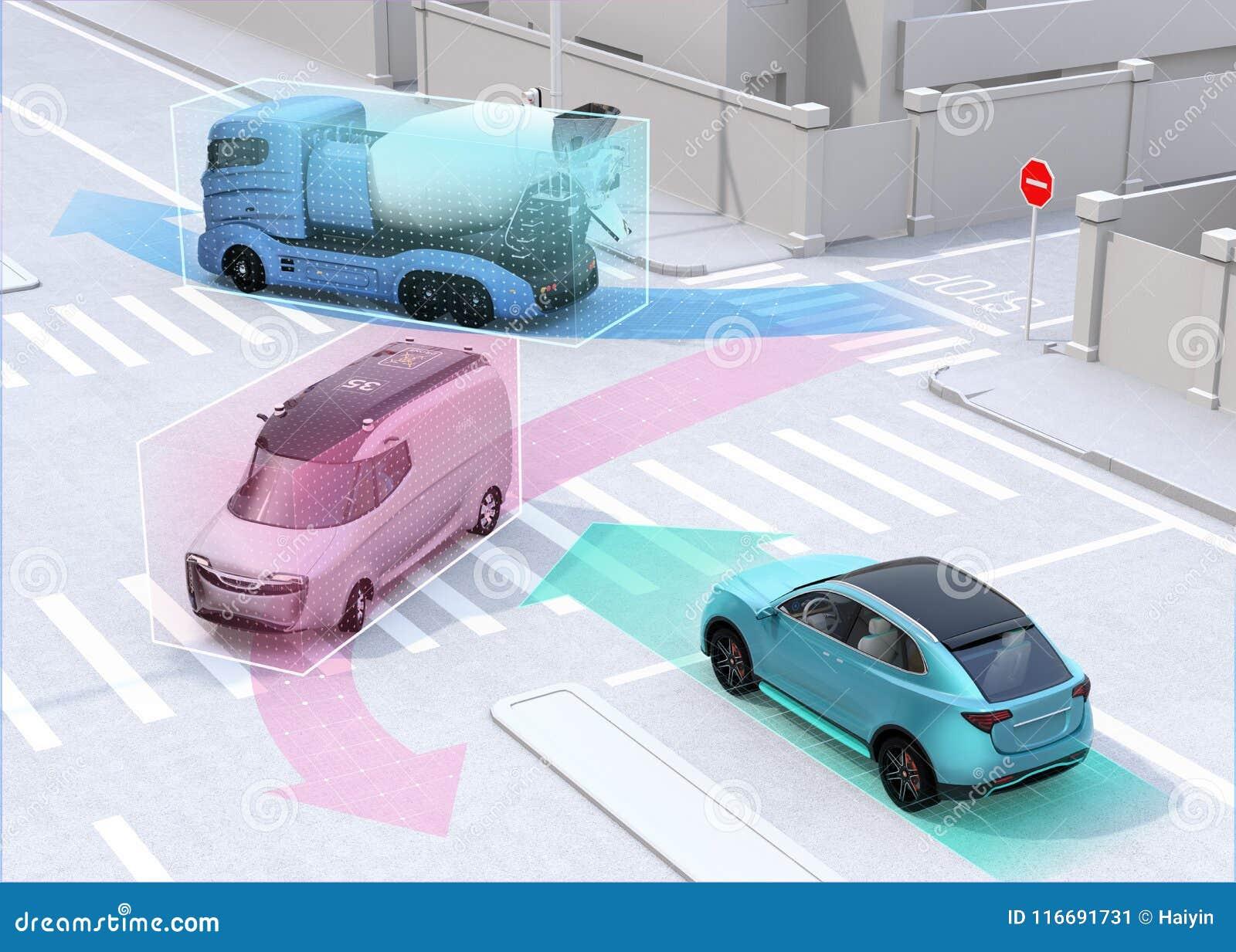 Autonomes Autoteilenauto ` s, das Informationen über die Straße fährt