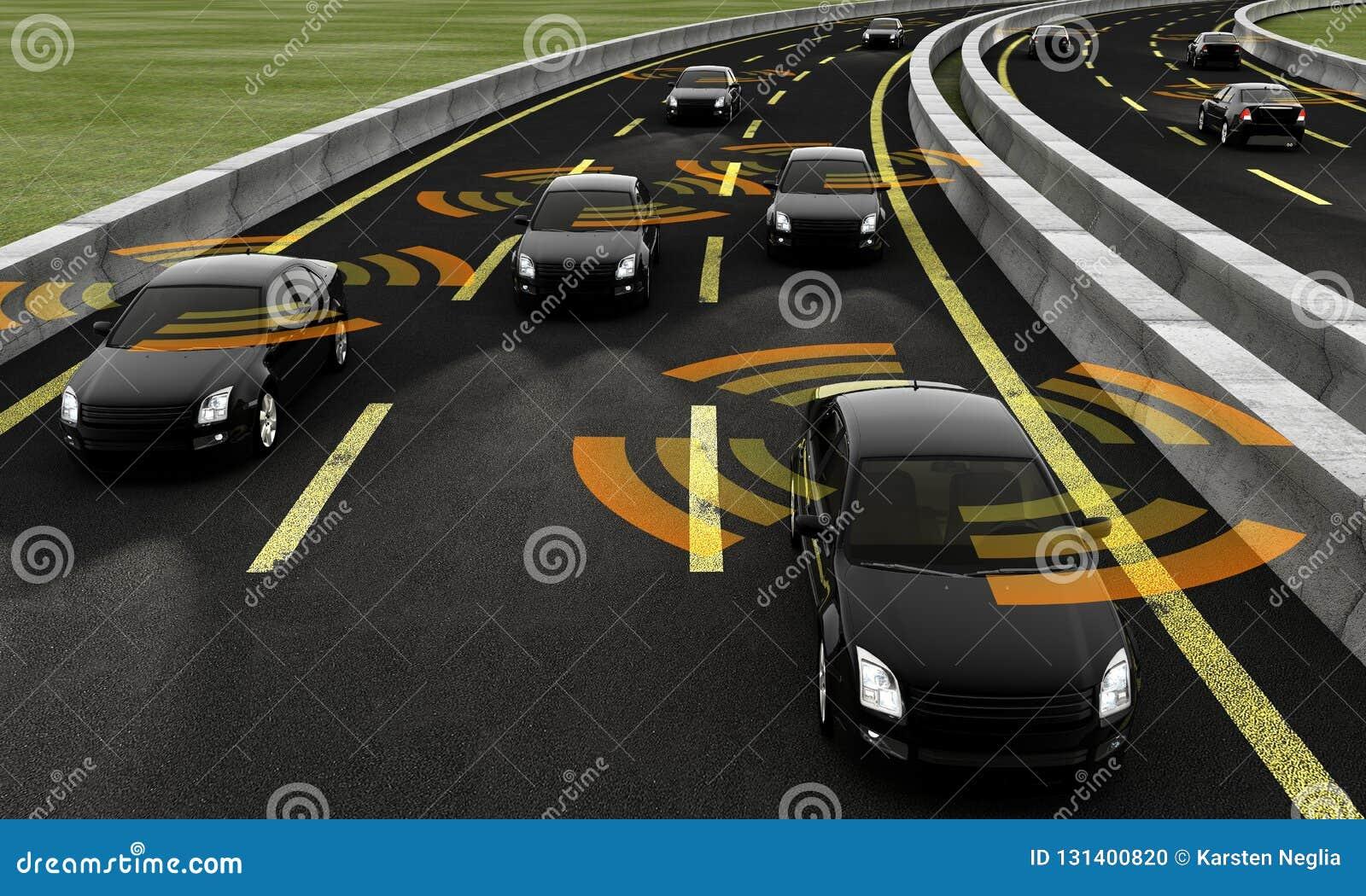 Autonomiczni samochody na drodze, 3d rendering