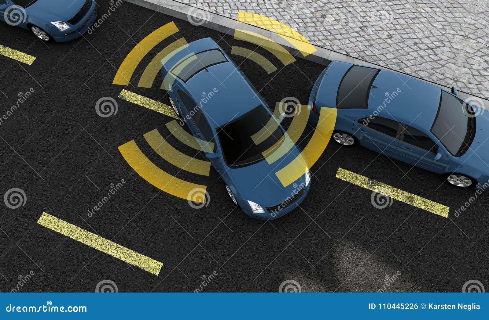 Autonomiczni samochody na drodze z widocznym związkiem