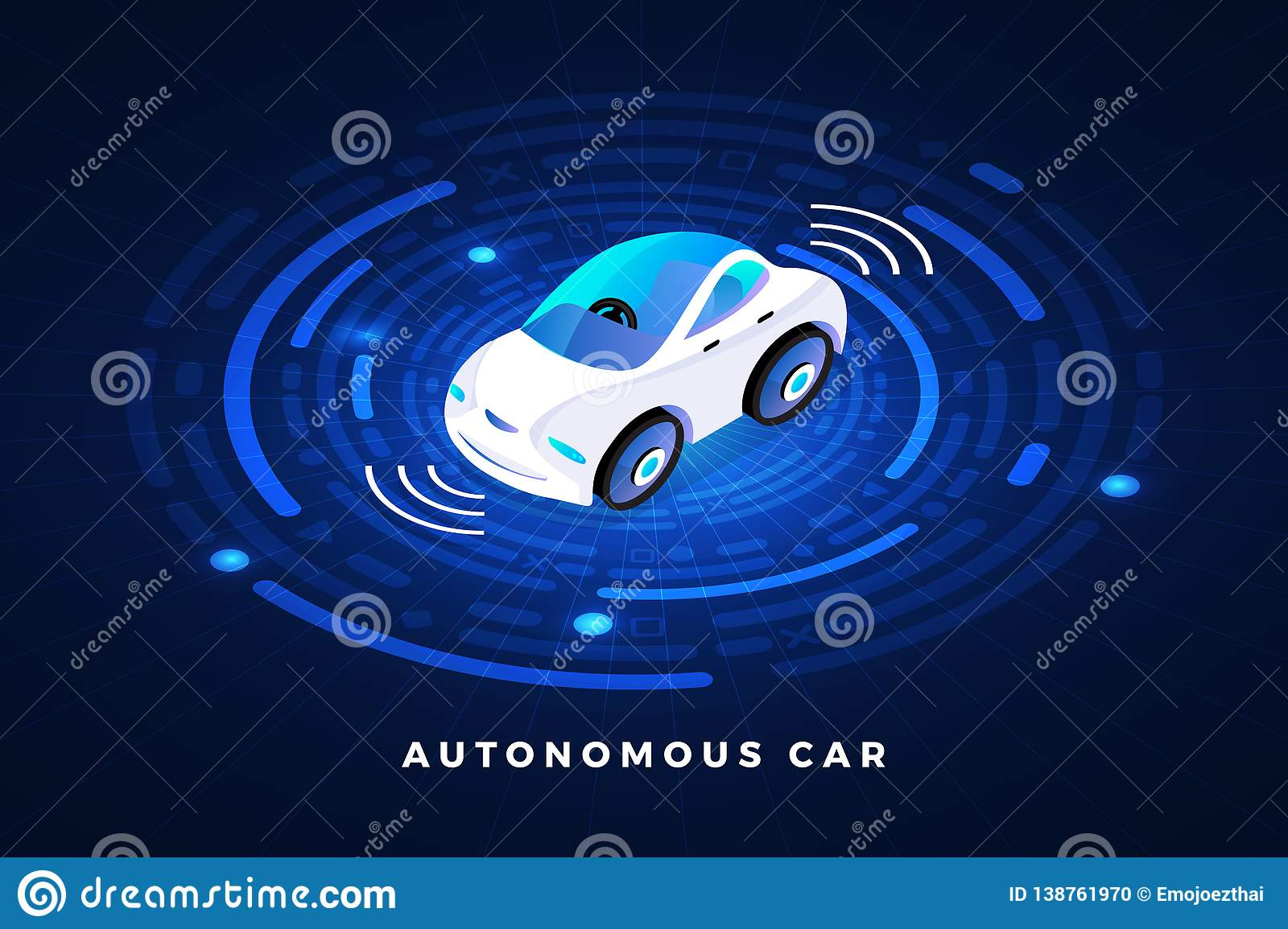 Autonomous Car Conceept stock vector  Illustration of