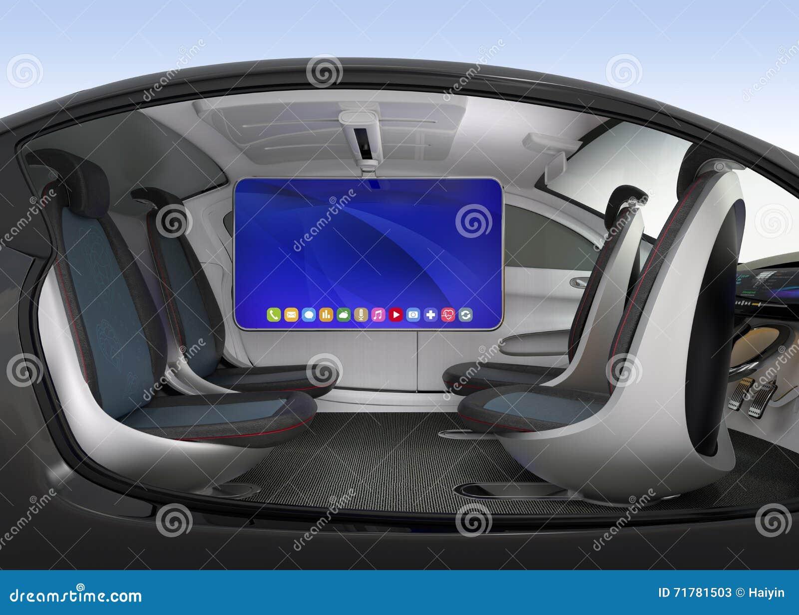 autonomous car interior concept stock illustration image 71781503. Black Bedroom Furniture Sets. Home Design Ideas
