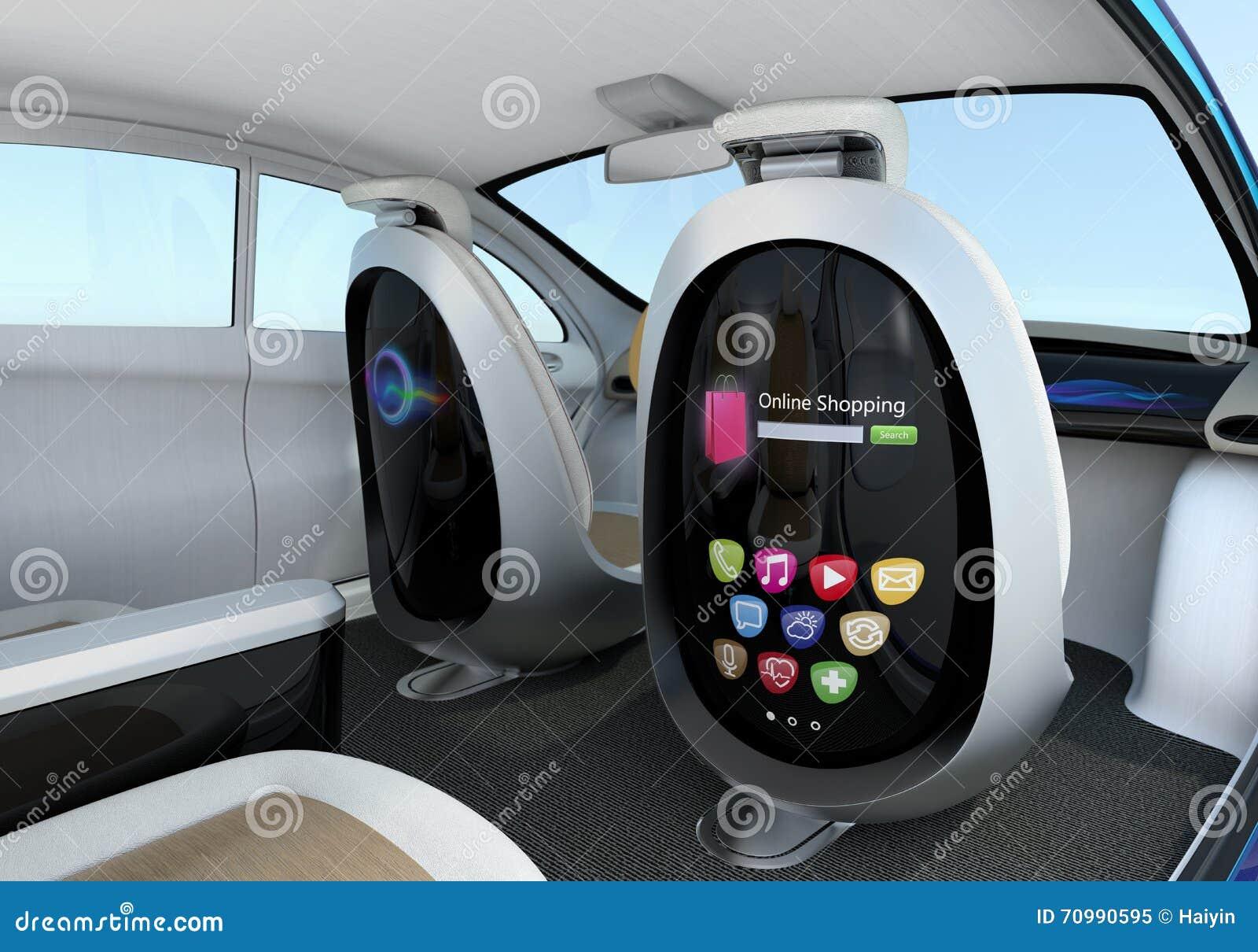 Autonomous Car Interior Concept Stock Illustration Illustration Of