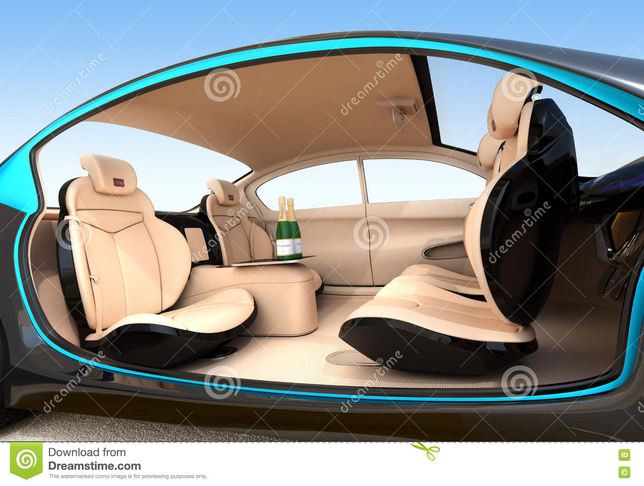 autonomous car interior concept stock illustration illustration of champagne electric 71646207. Black Bedroom Furniture Sets. Home Design Ideas
