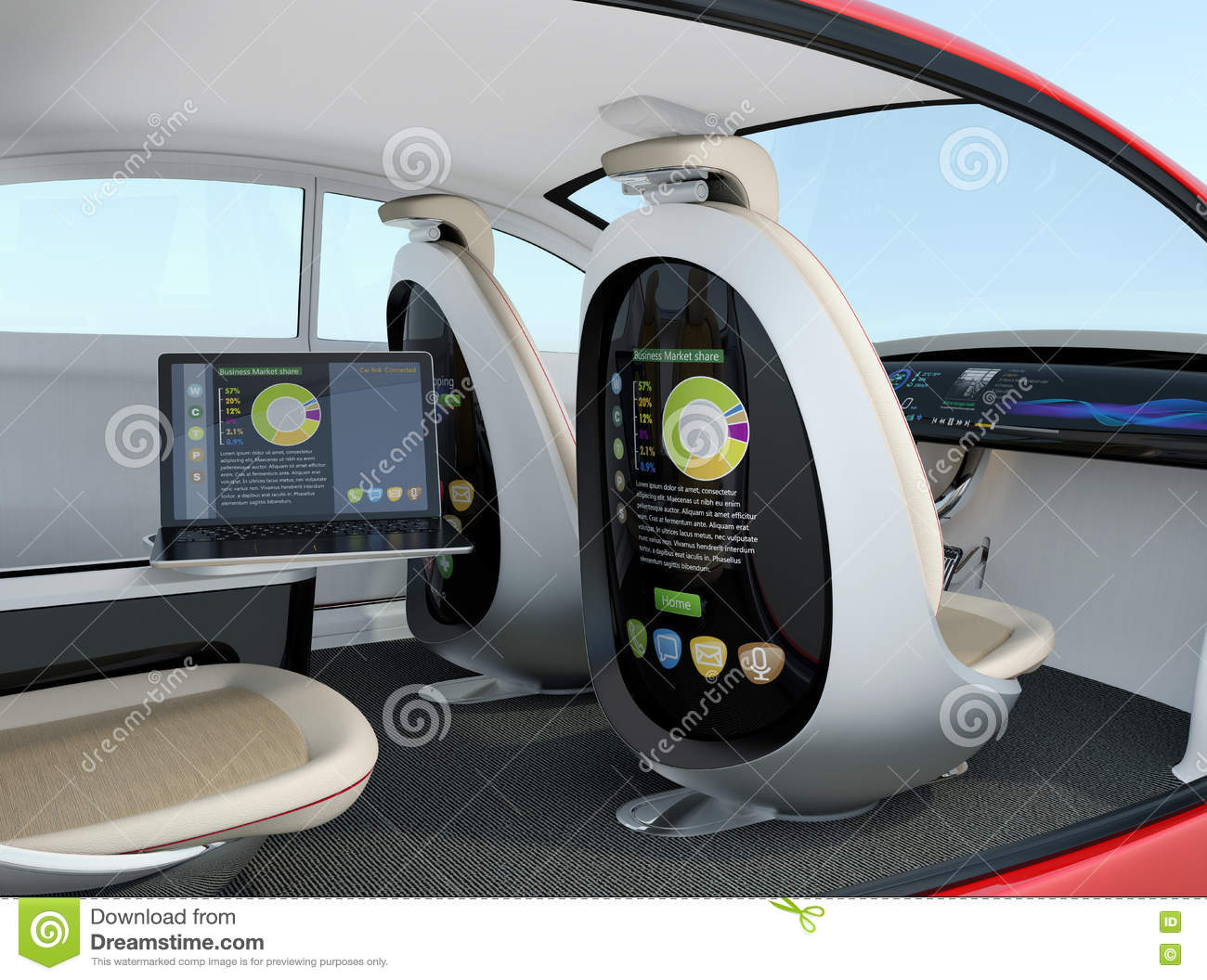 Autonomous car interior concept. Screen of the seat and laptop showing same document in sync mode