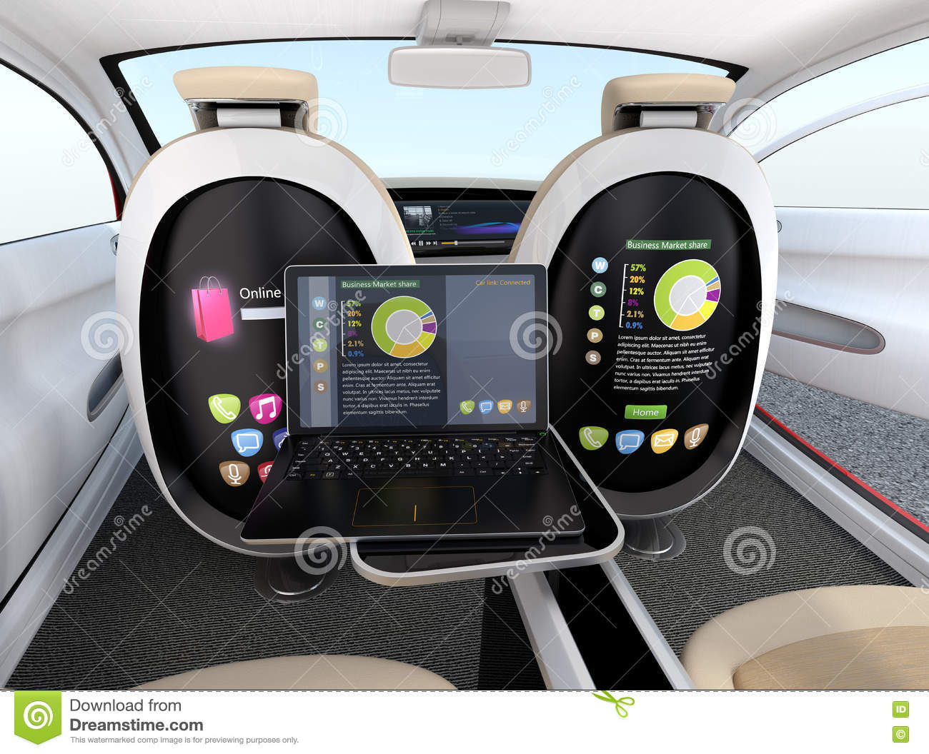 autonomous car interior concept screen of the seat and laptop showing same document in sync. Black Bedroom Furniture Sets. Home Design Ideas