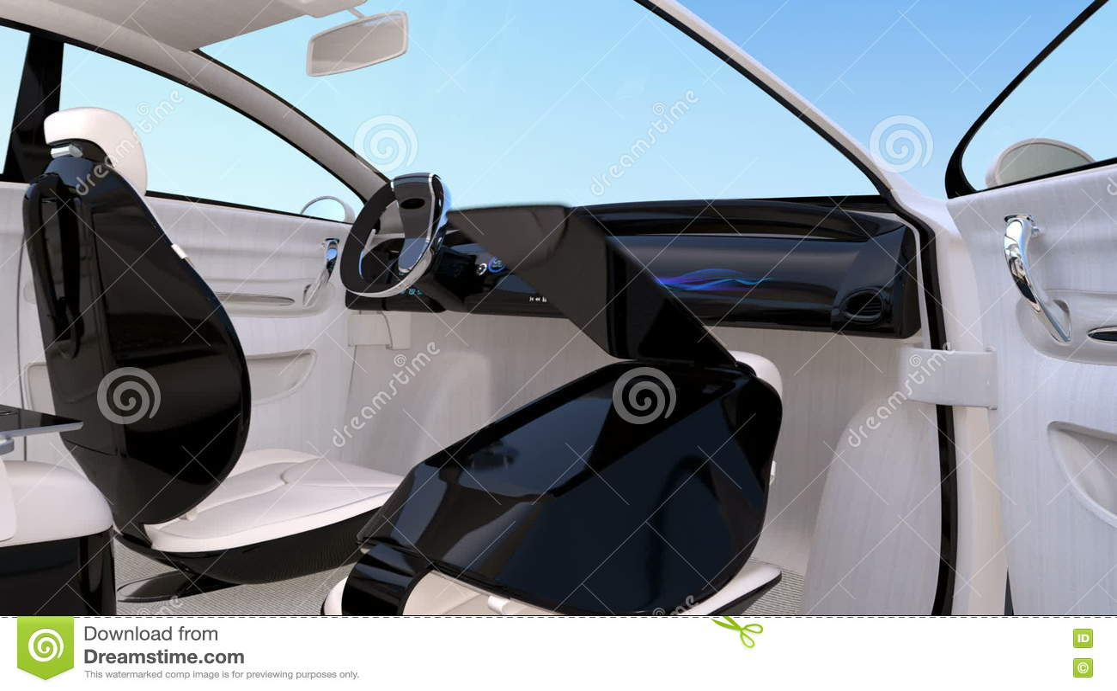 Autonomous Car Interior Design Stock Footage Video Of Console
