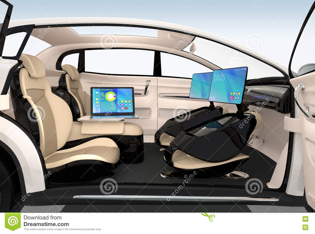 Autonomous car interior design concept for new business for Car interior decoration