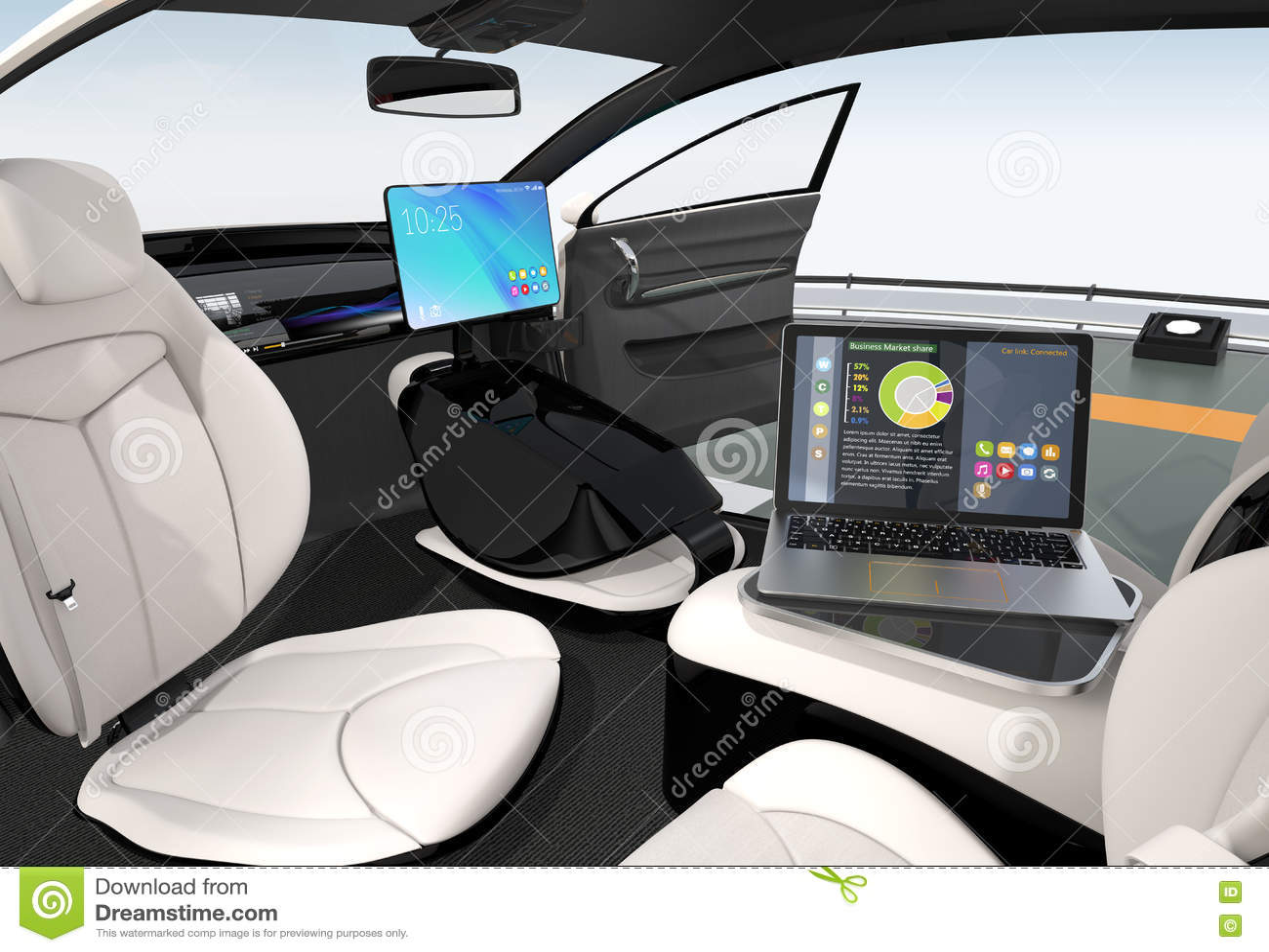 Autonomous Car Interior Design Stock Illustration Illustration Of