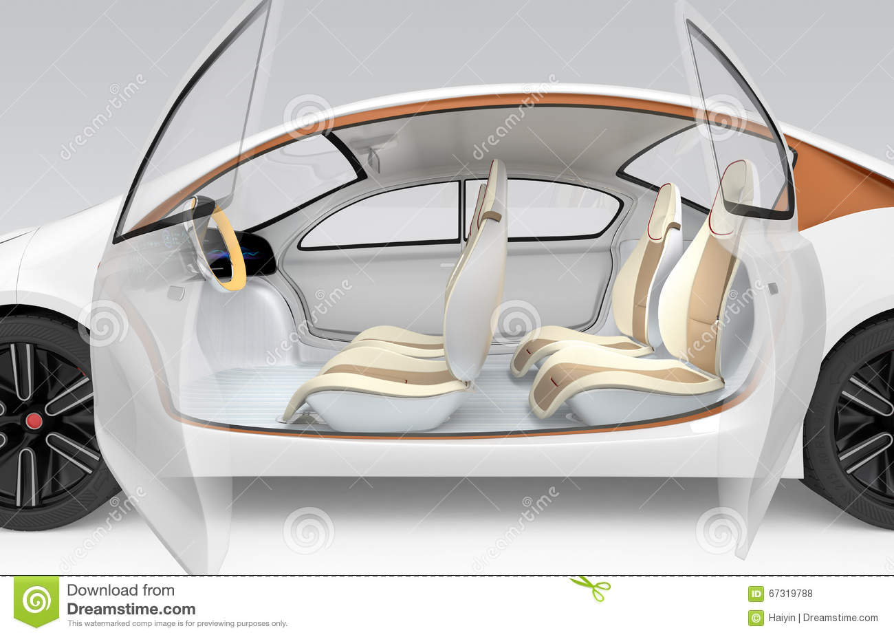 Autonomous Car's Interior Concept. The Car Offer Folding ...