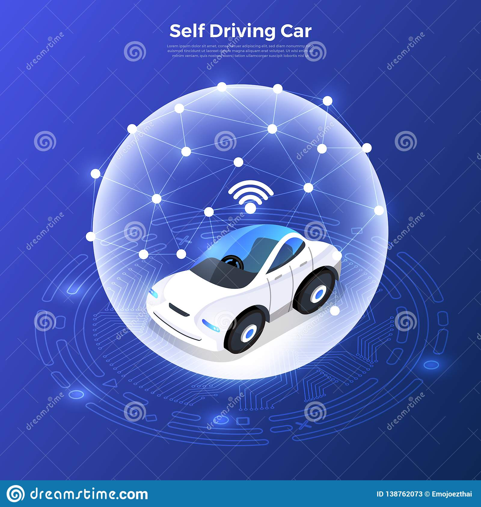 Autonomous Car Self Driving Technology Stock Vector