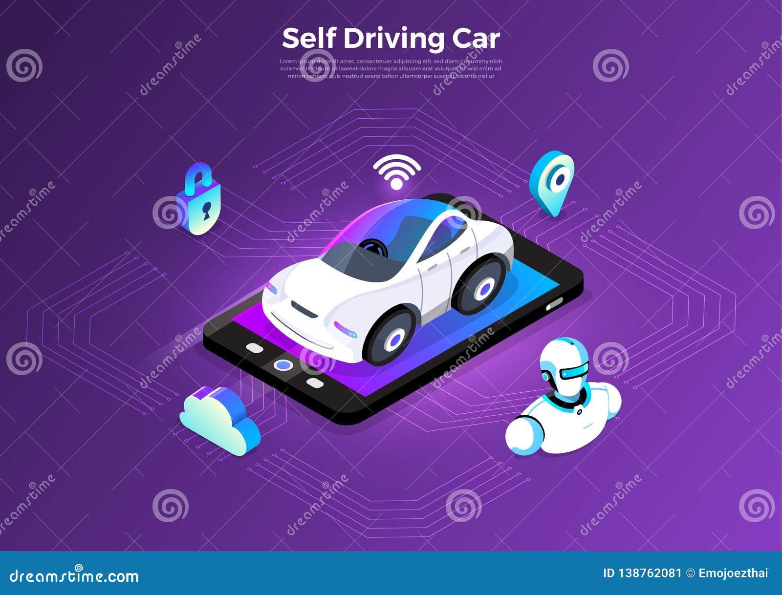 Autonomous Car Self Driving Technology Stock Vector