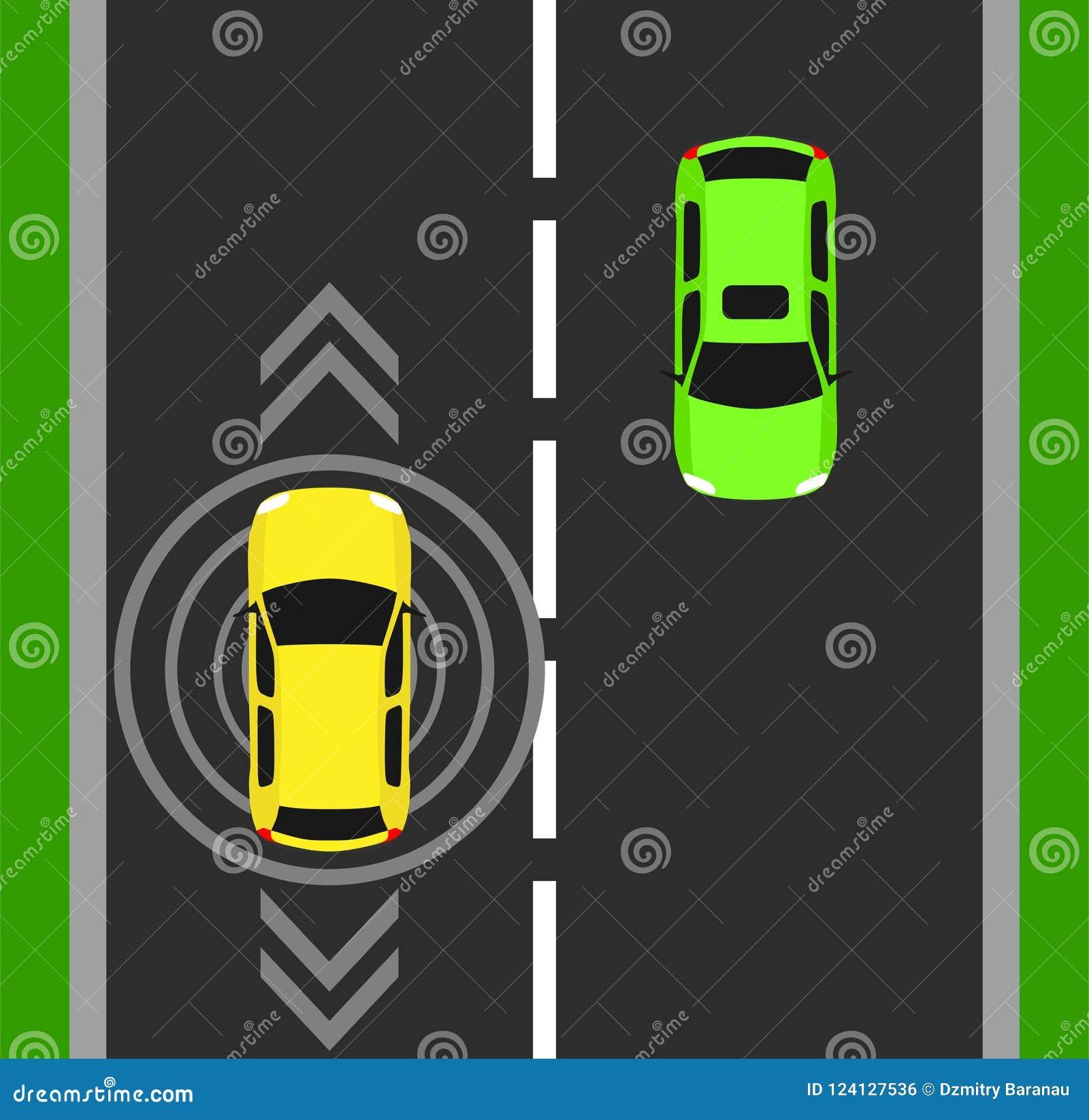 Autonomous Car Top View Background Digital Vehicle Above