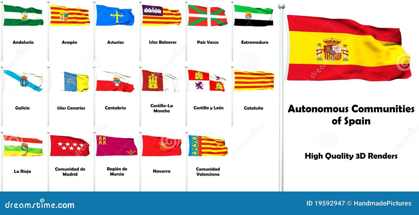 Spain Autonomous Communities Political Map Stock Vector Image