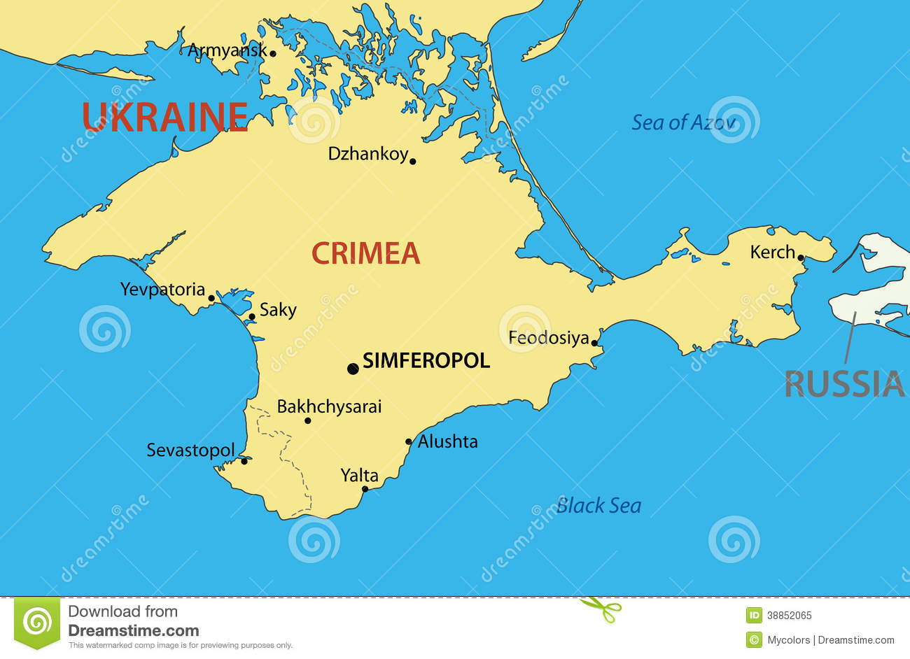Autonomous Republic Of Crimea Vector Map Stock Vector