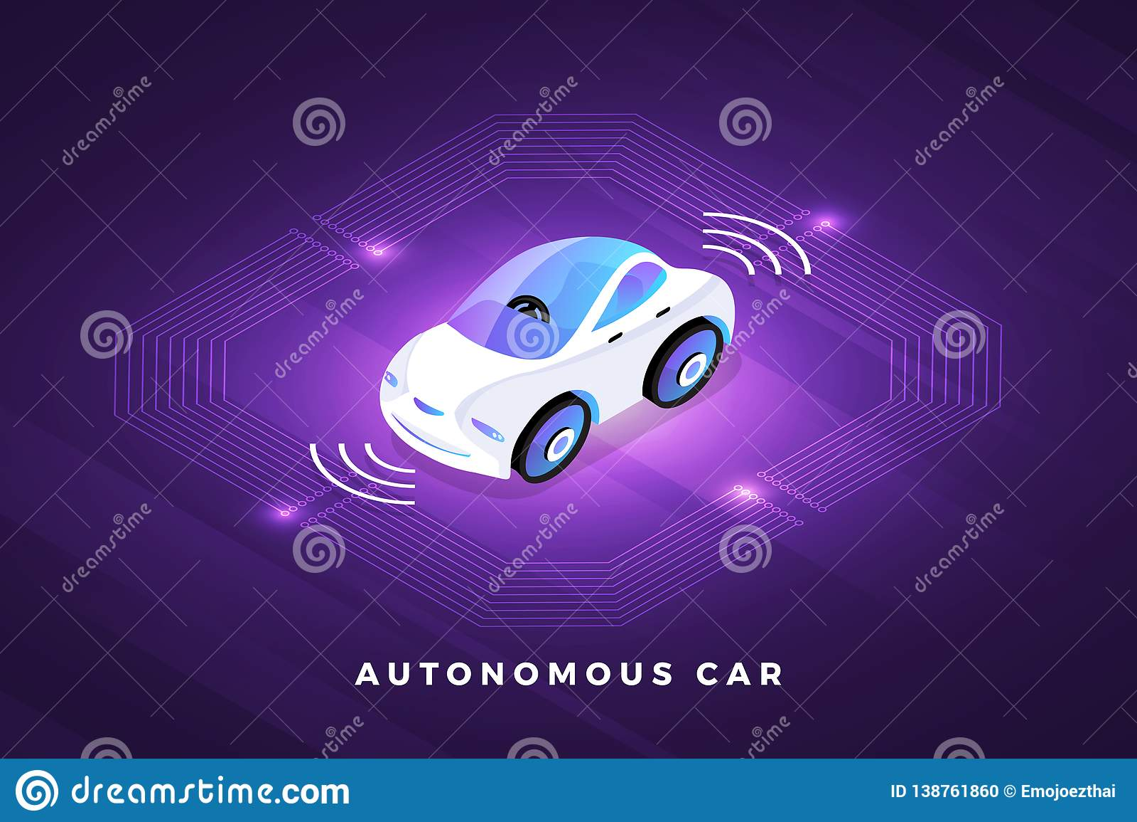 Autonomous Car Conceept stock vector  Illustration of data