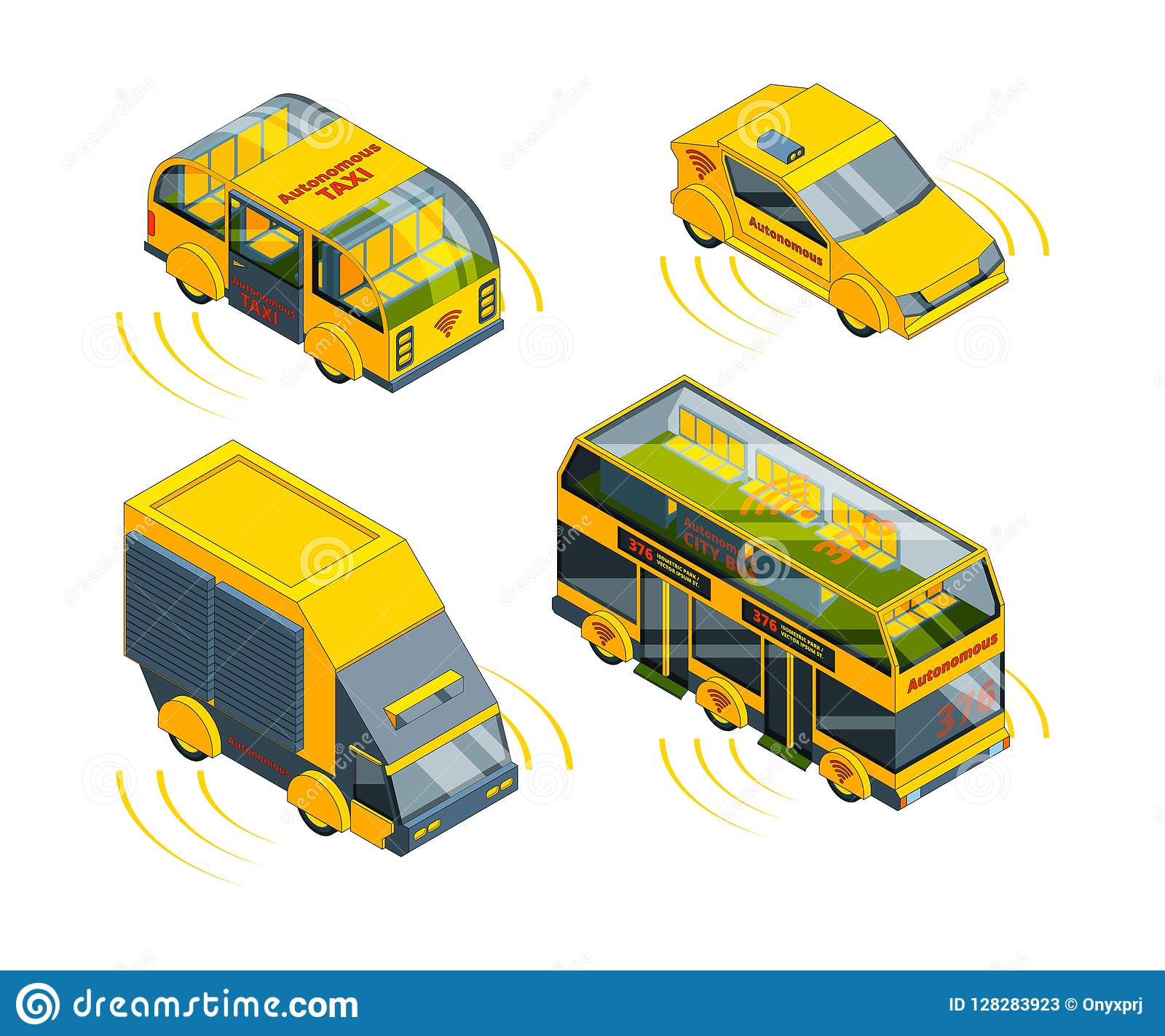 Autonomous vehicle. Unmanned transport at road emergency cars train taxi and buses isometric vector pictures