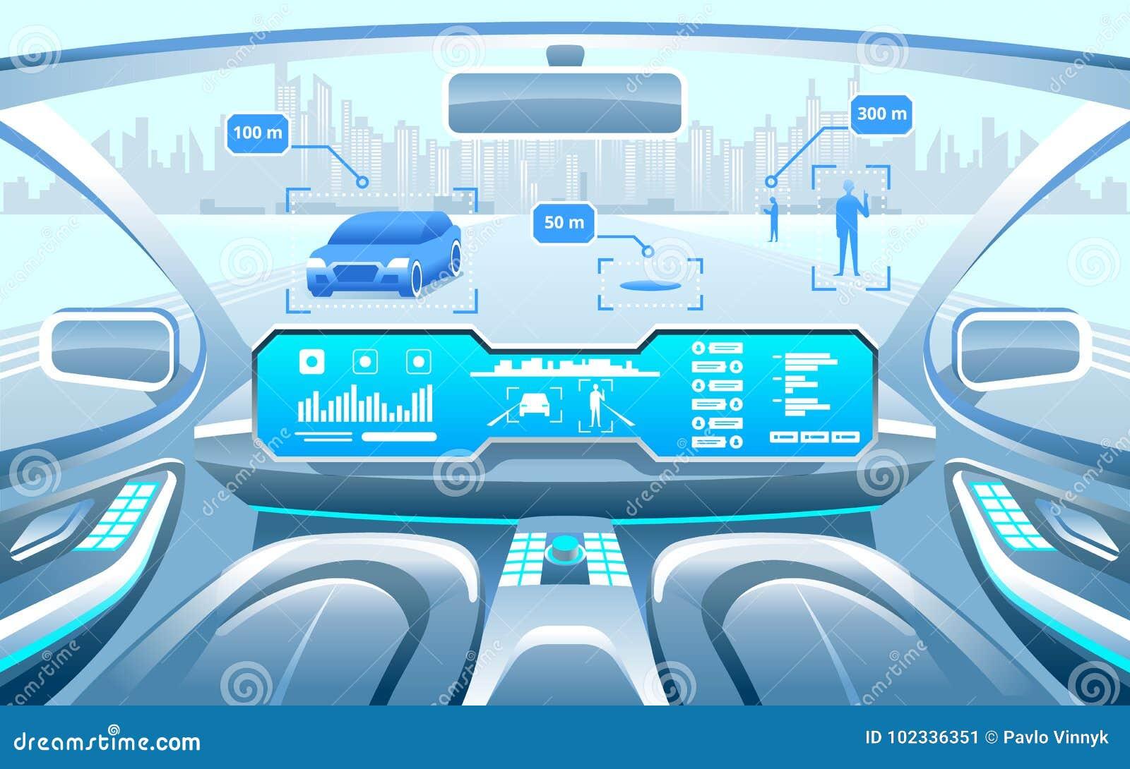 Autonoom Slim autobinnenland auto het zelf drijven in de stad op de weg De vertoning toont informatie over het voertuig