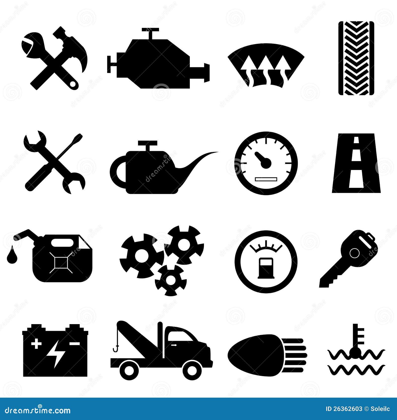 Autopflege- und -reparaturikonen