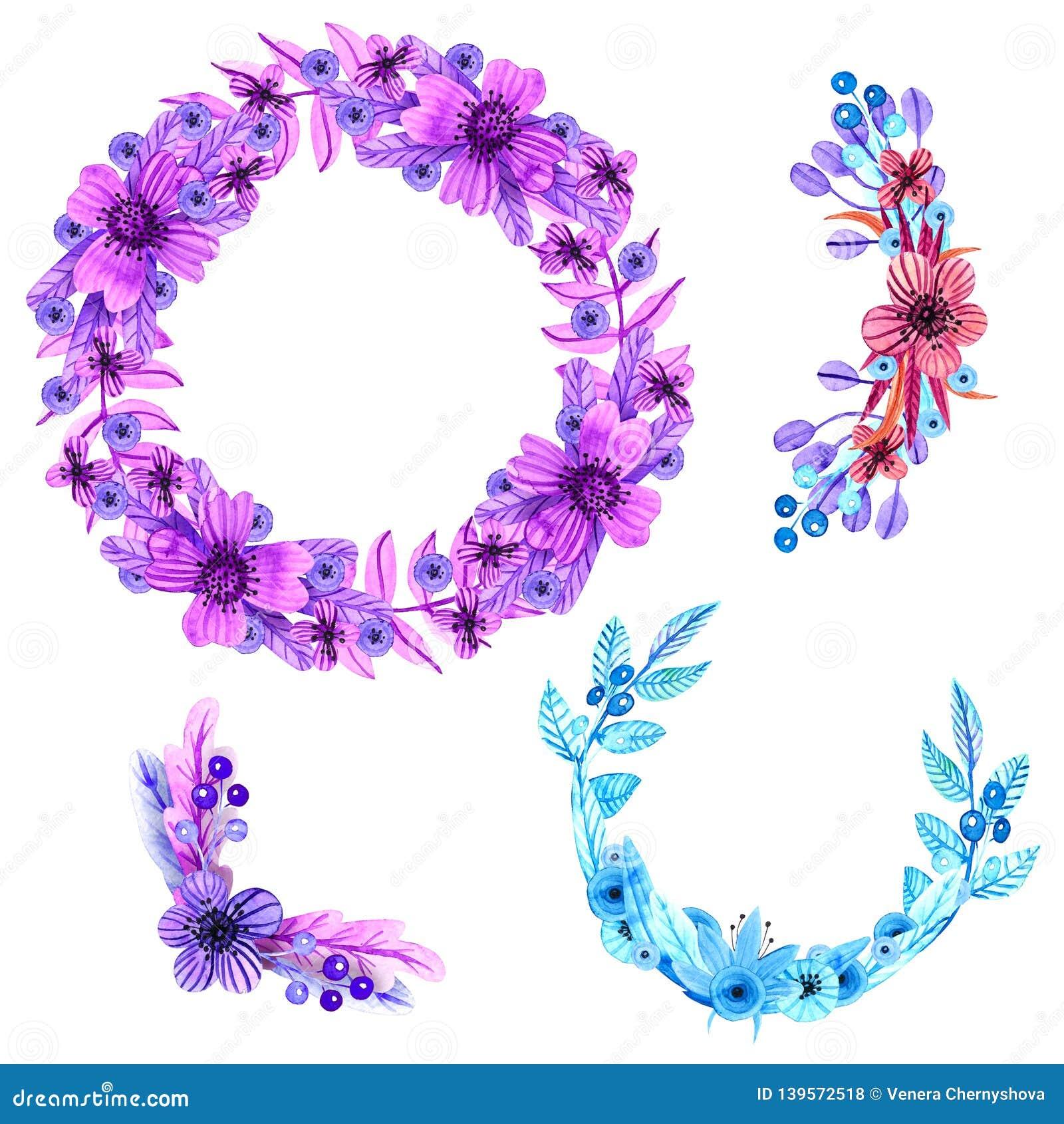 Autor kwitnie i obrazu obrazka ustaloną akwarelę Wianek, składy, kąty dla kart i gratulacje,