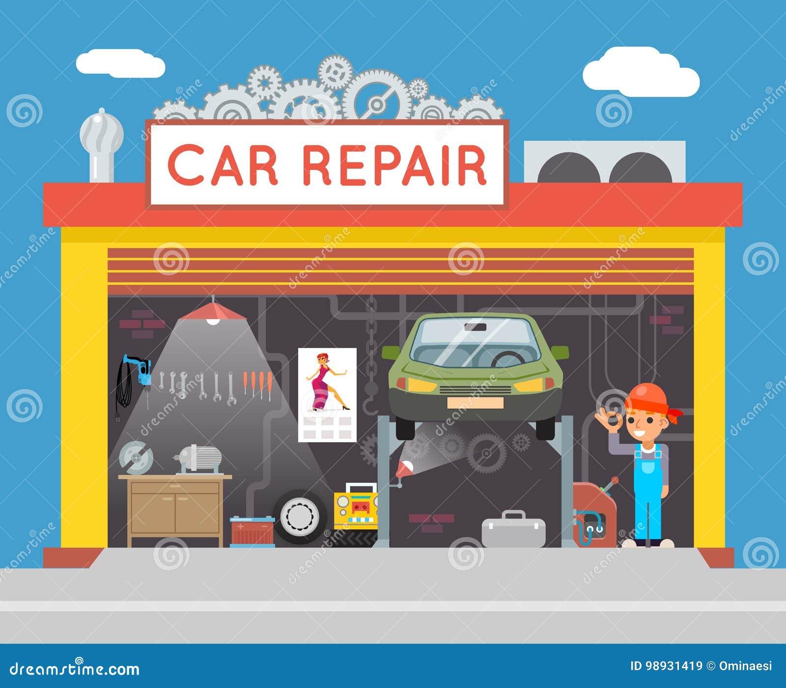 Autoreparatur-Service-Garagen-Shop-Techniker-Vehicle Fix ...