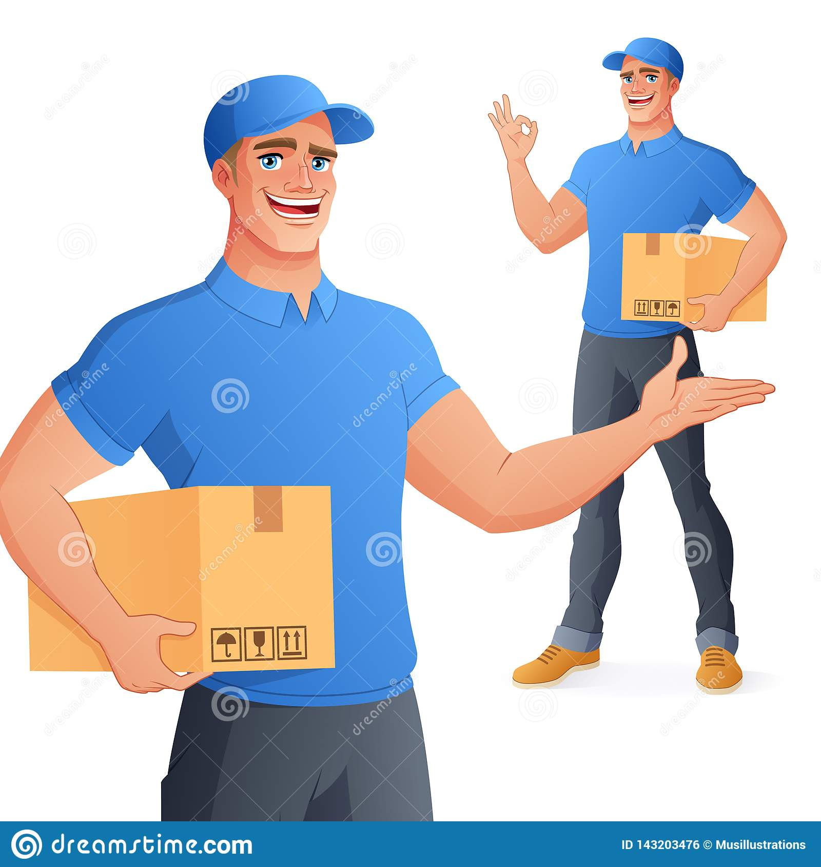AUTORIZACIÓN de la demostración de la caja de la tenencia del hombre del servicio de entrega del mensajero Ilustración del vector