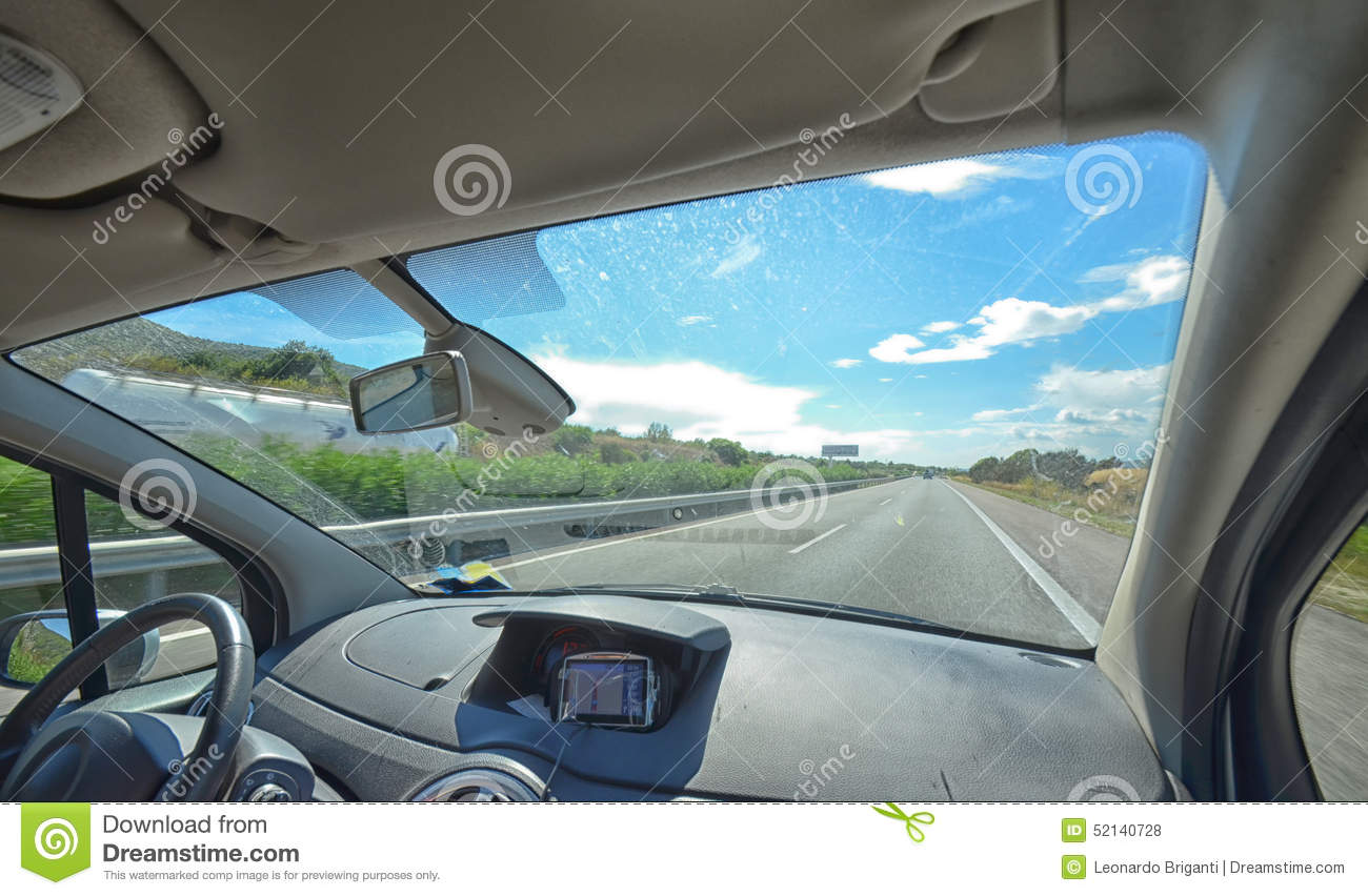 Autoroute de l 39 int rieur de la voiture photo stock image for Interieur voiture