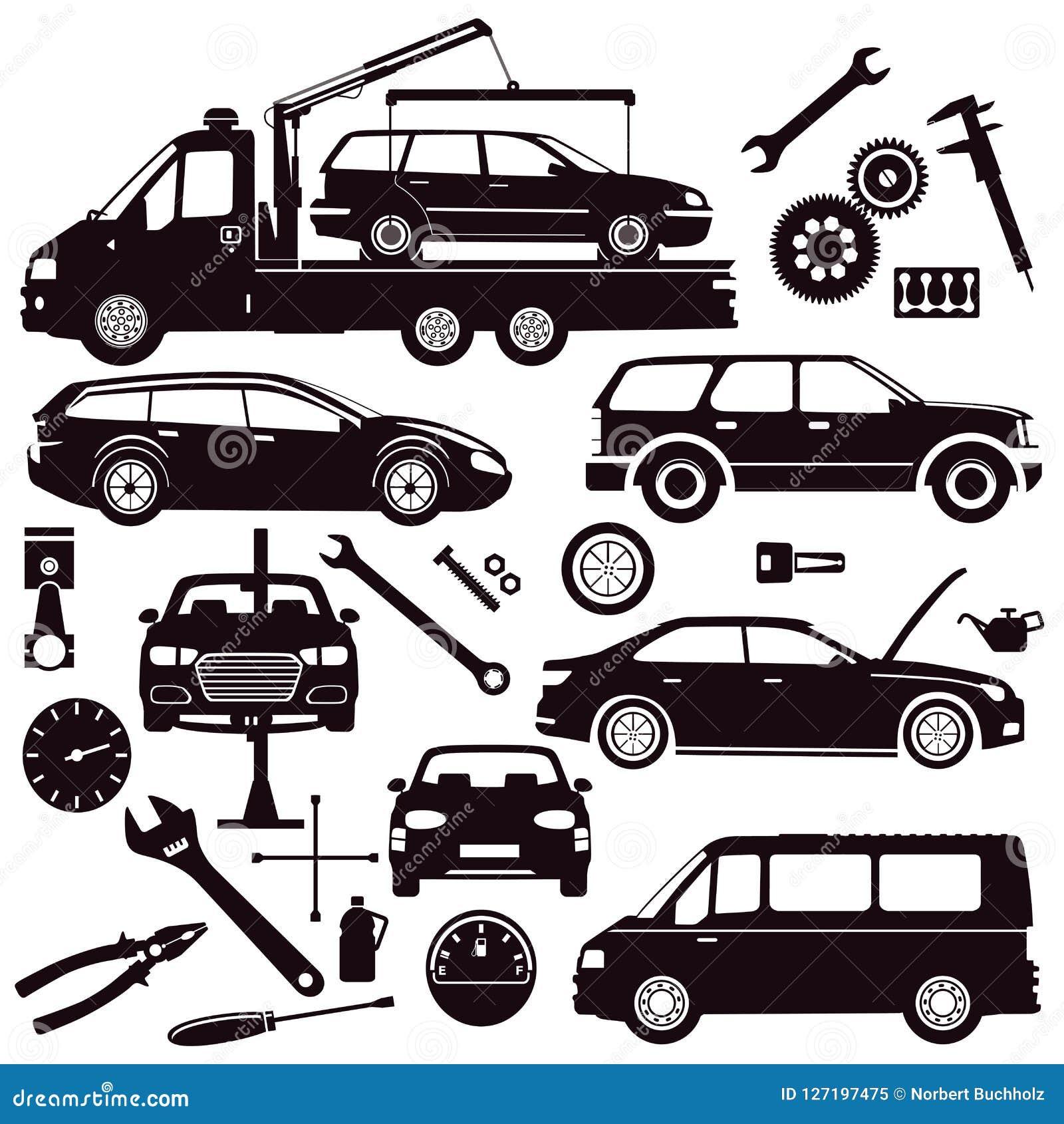 Autos und Autoreparaturwerkzeuge
