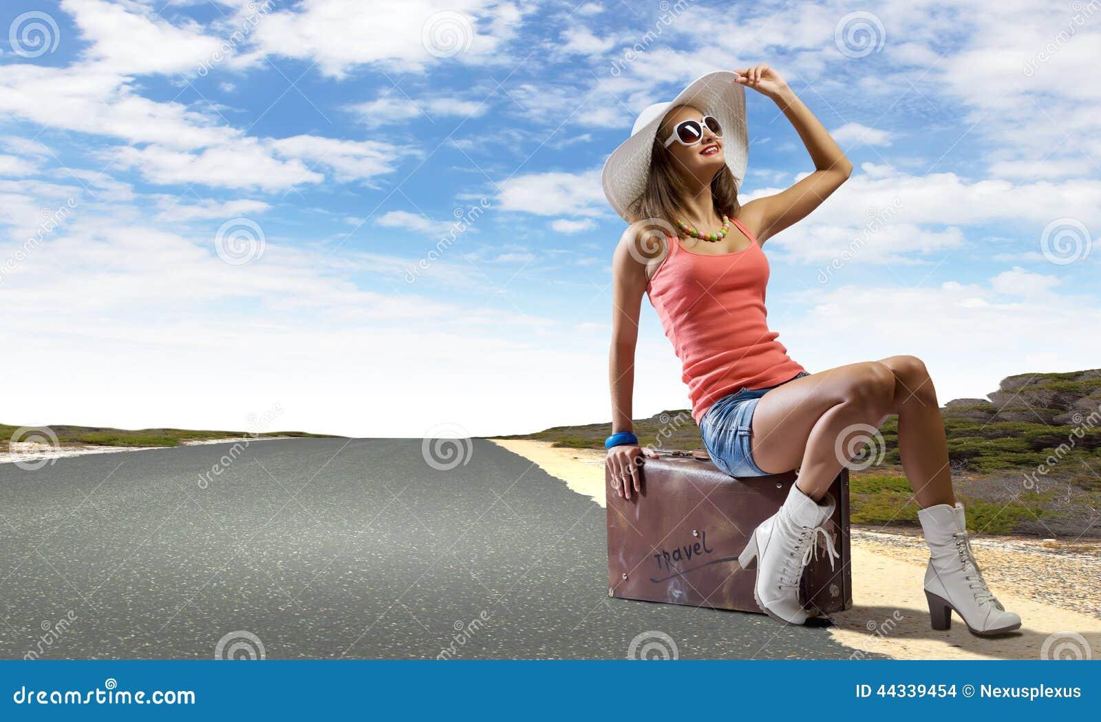 Полностью голая автостопом