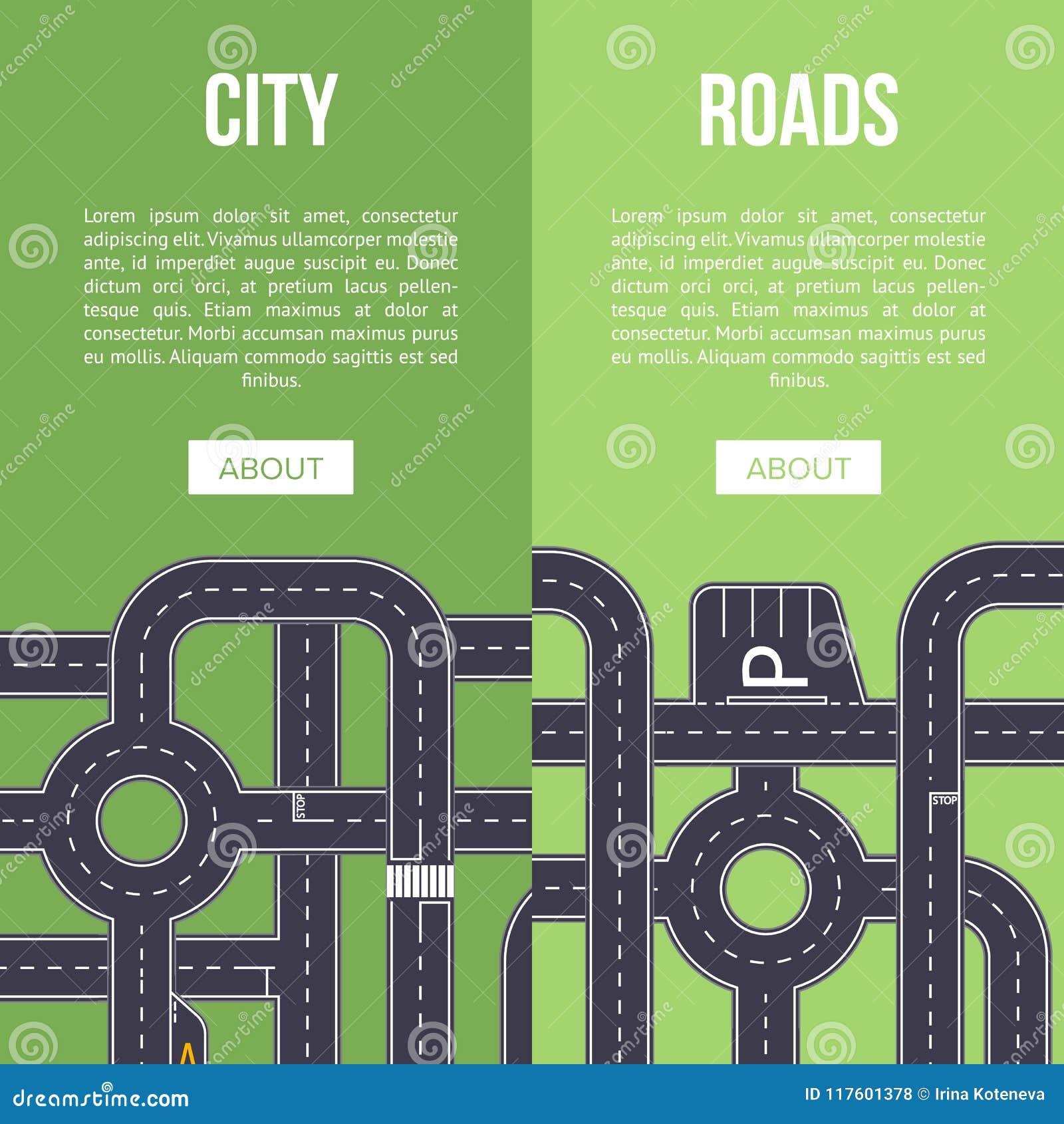 Autostrada ruchu drogowego sztandar z skrzyżowaniem drogi