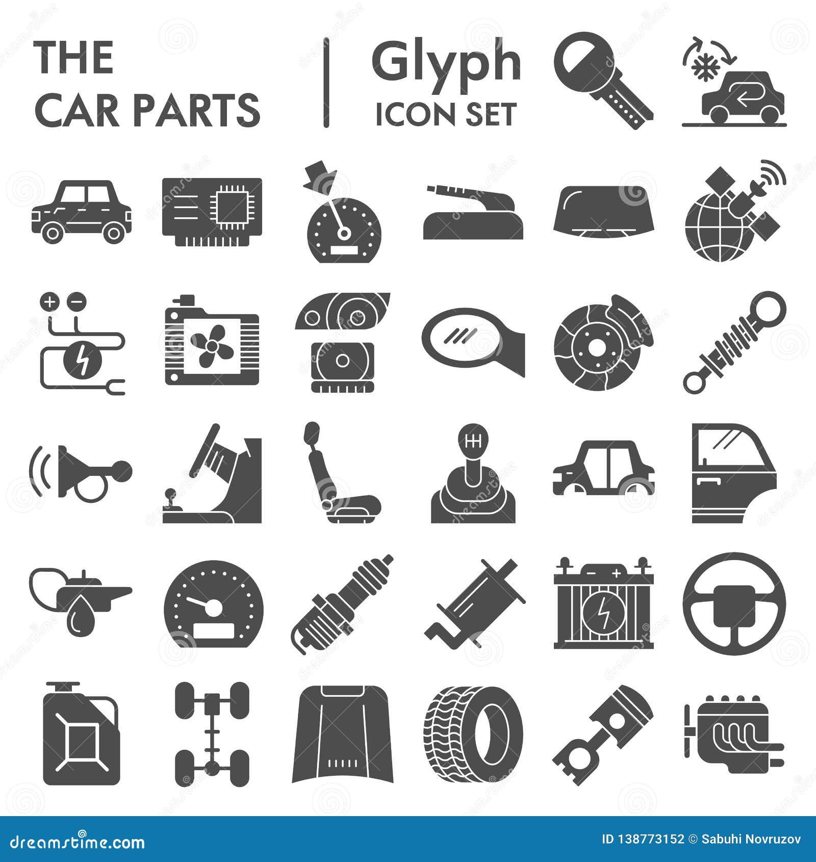 Autoteile Glyph-Ikonensatz, Automobildetailsymbole Sammlung, Vektorskizzen, Logoillustrationen, Fahrzeugzeichen