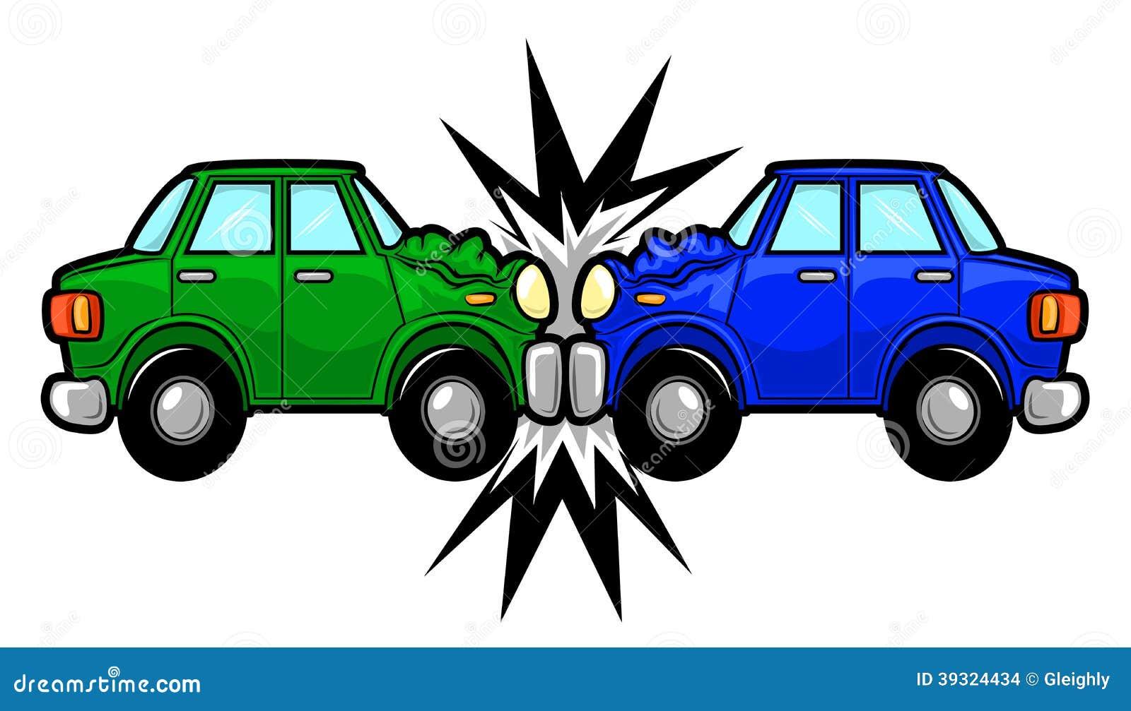 Autounfall-Karikatur vektor abbildung. Illustration von getrennt ...