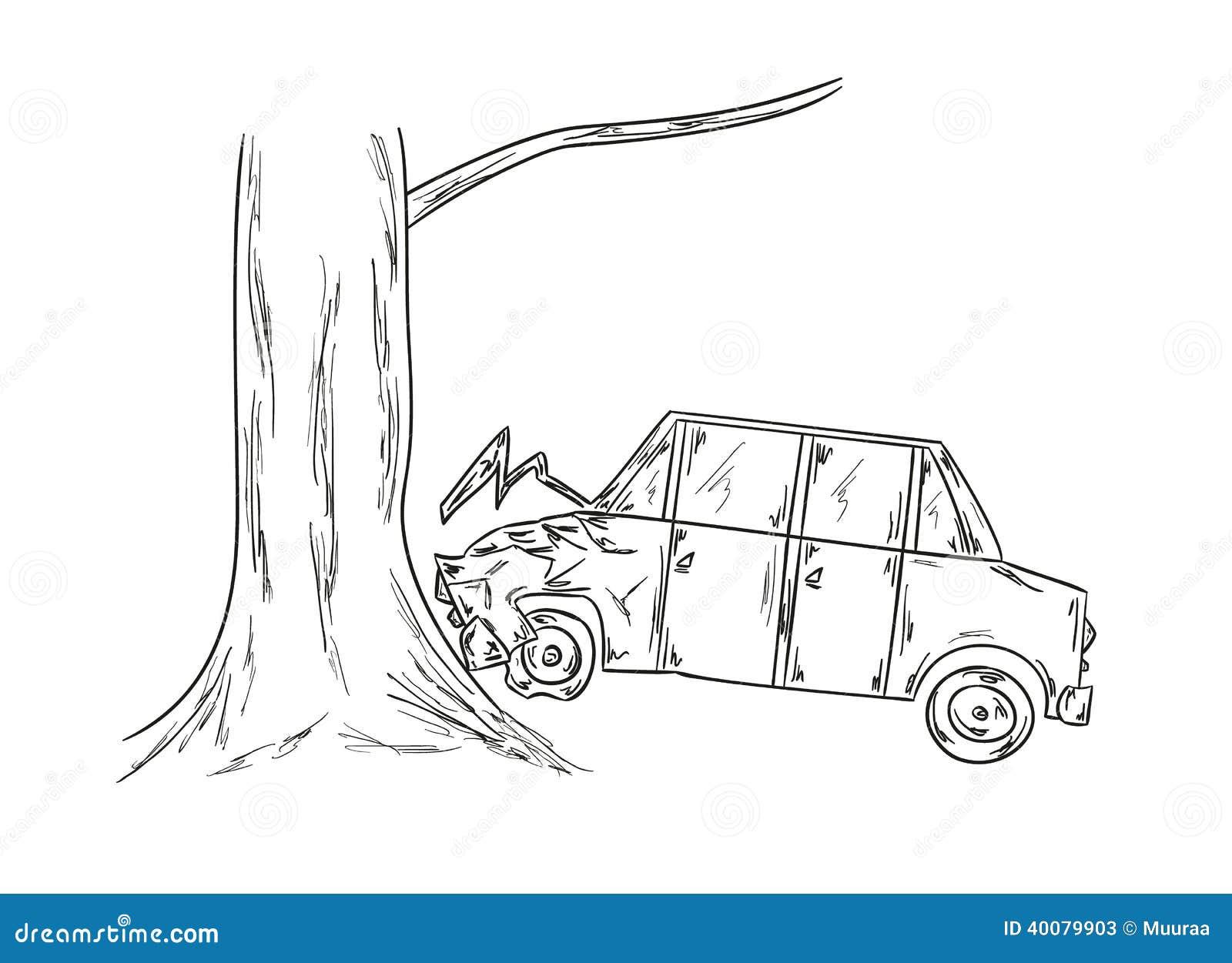 Autounfallskizze vektor abbildung. Illustration von beschädigung ...