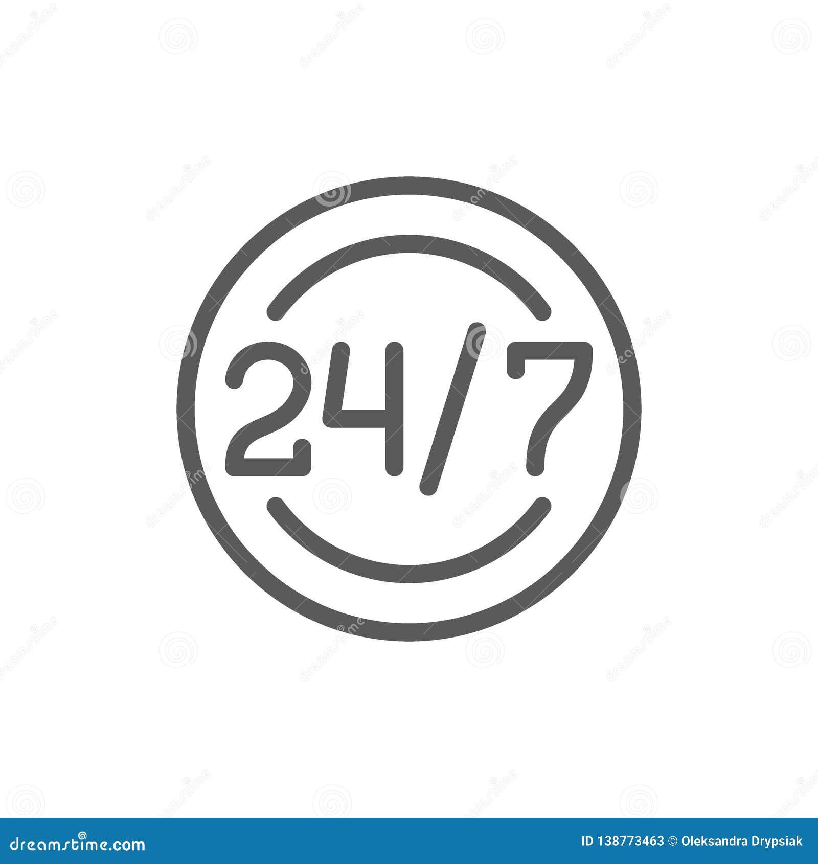 Autour de l horloge et de l horaire de travail quotidien, 24 heures de service, ligne de temps d aide icône