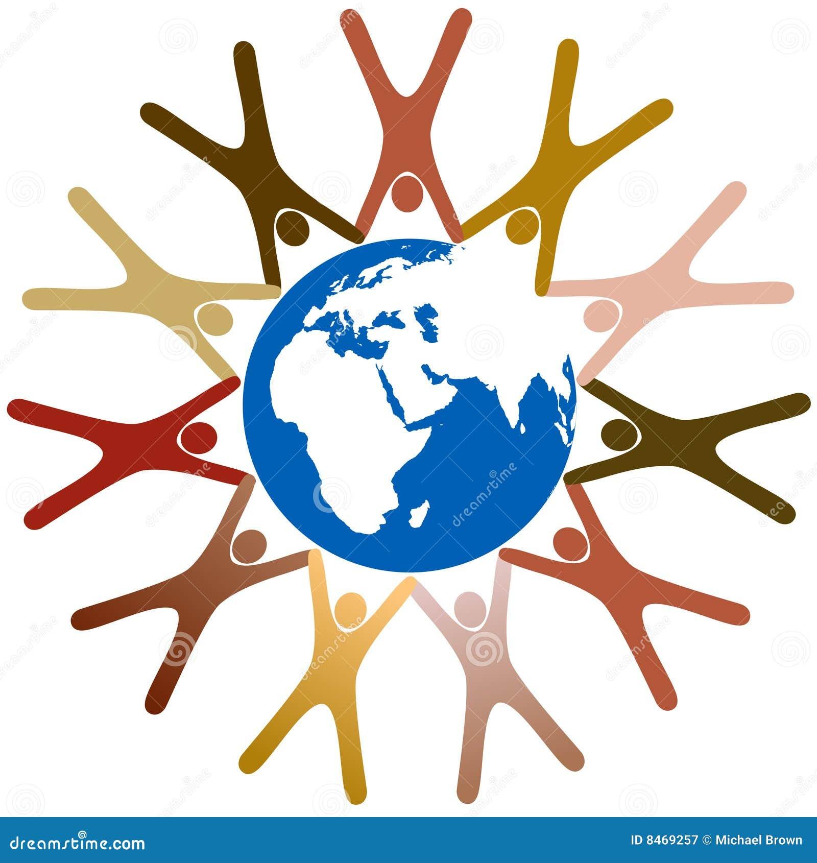 Autour du symbole divers de gens de prise de mains de la terre