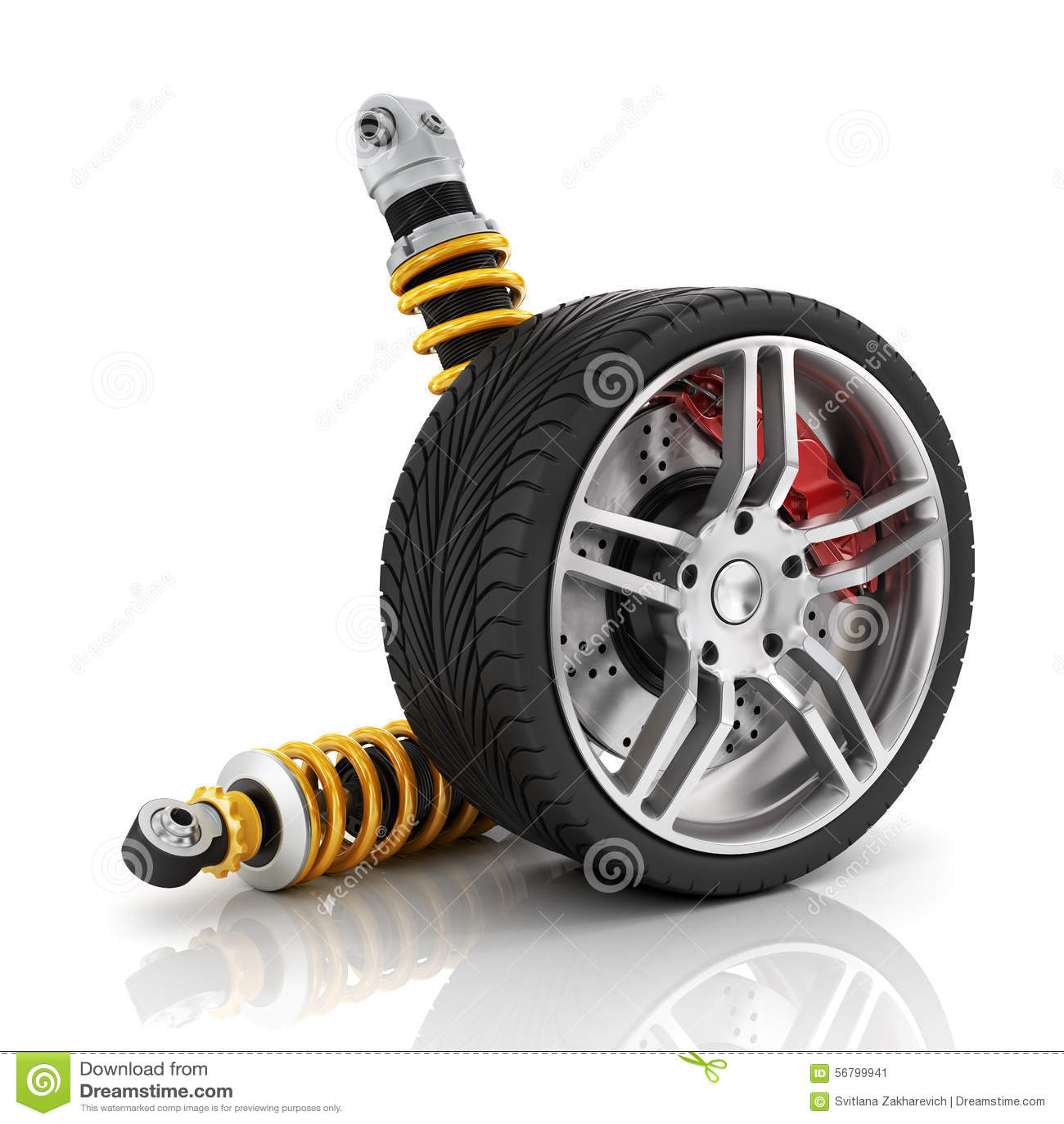 Autowiel met remmen, absorptievaten, banden en randen