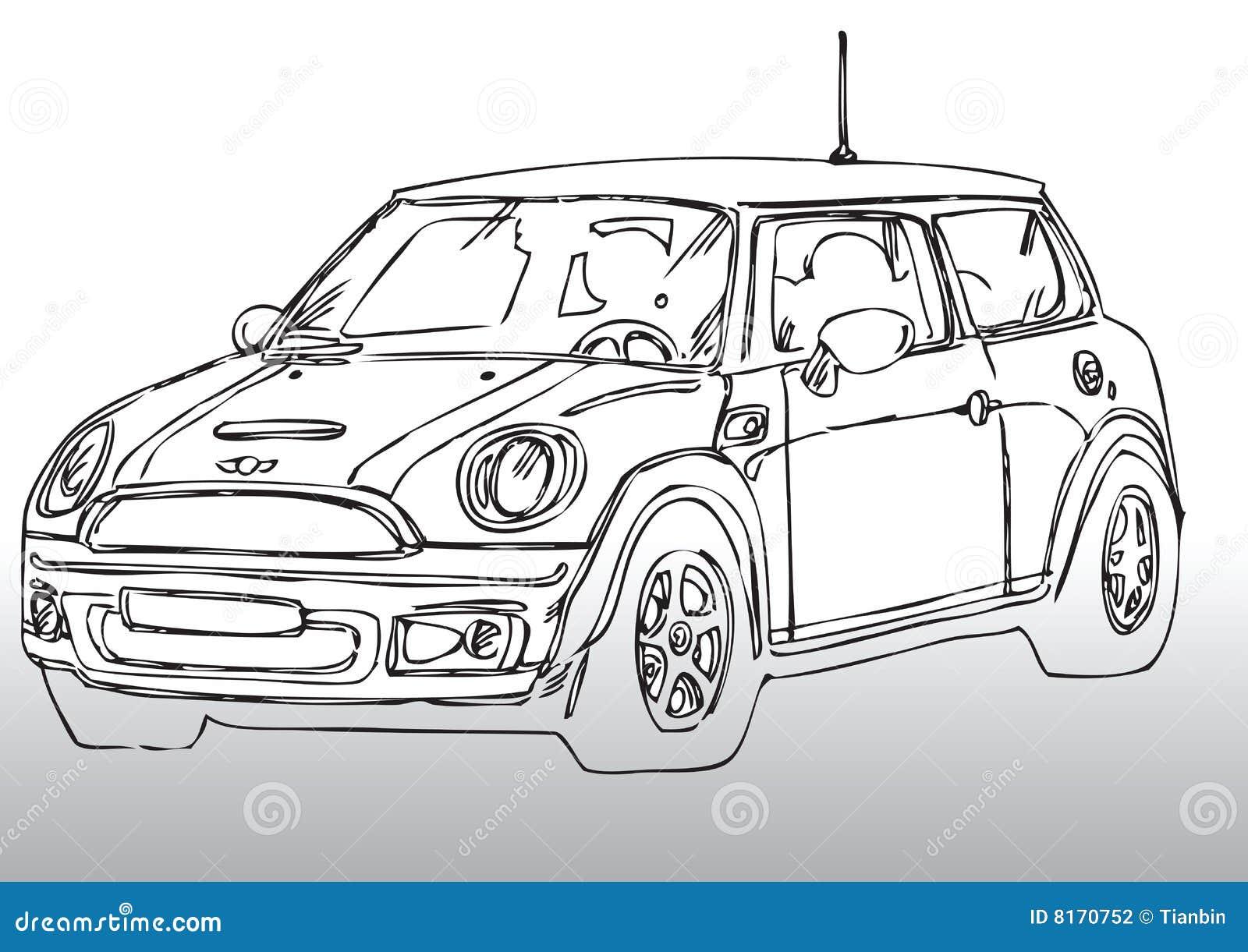 Autozeichnung Mini vektor abbildung. Illustration von draw - 8170752