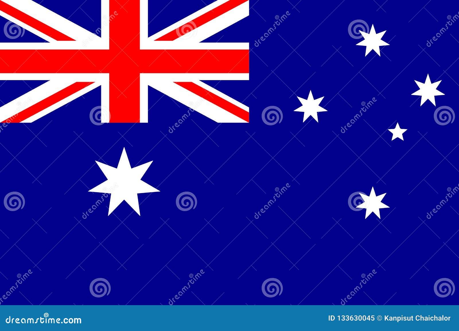 Autralian国旗的传染媒介例证 正确澳大利亚旗子、正式颜色和比例 全国澳大利亚旗子
