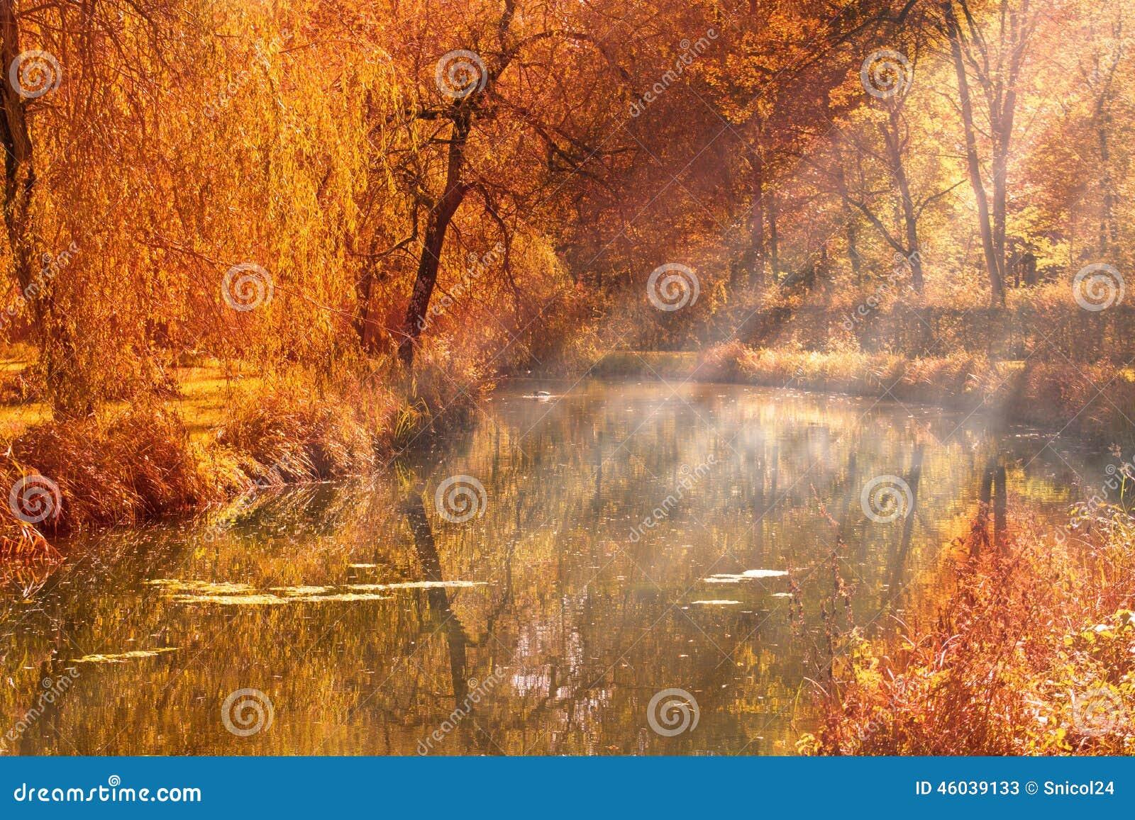 Autumn湖太阳光芒