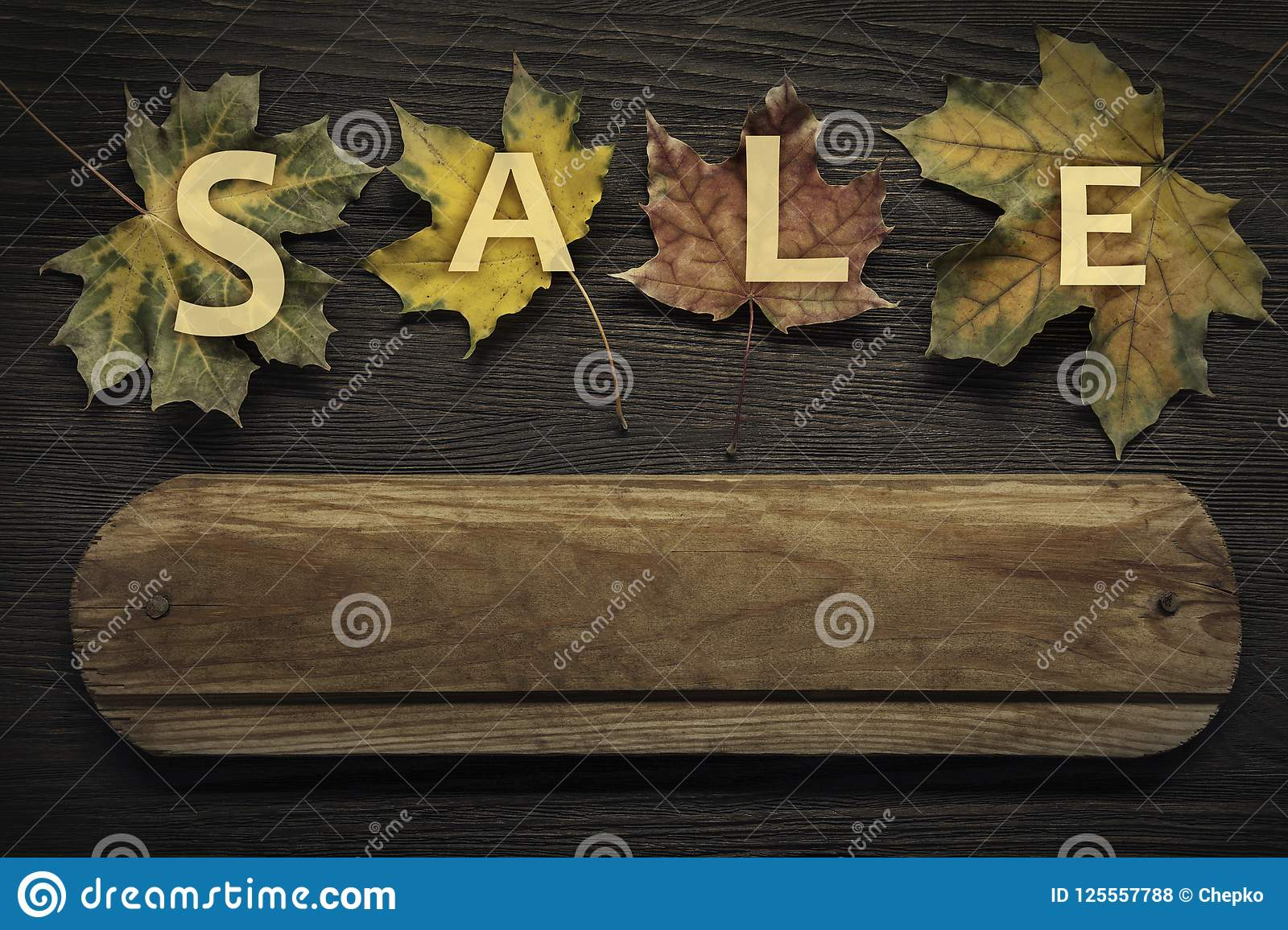 Download Autumn Ad Sale With Wooden Sign For Words And Inscriptions And B Stock Photo - Image of backdrop, leaf: 125557788