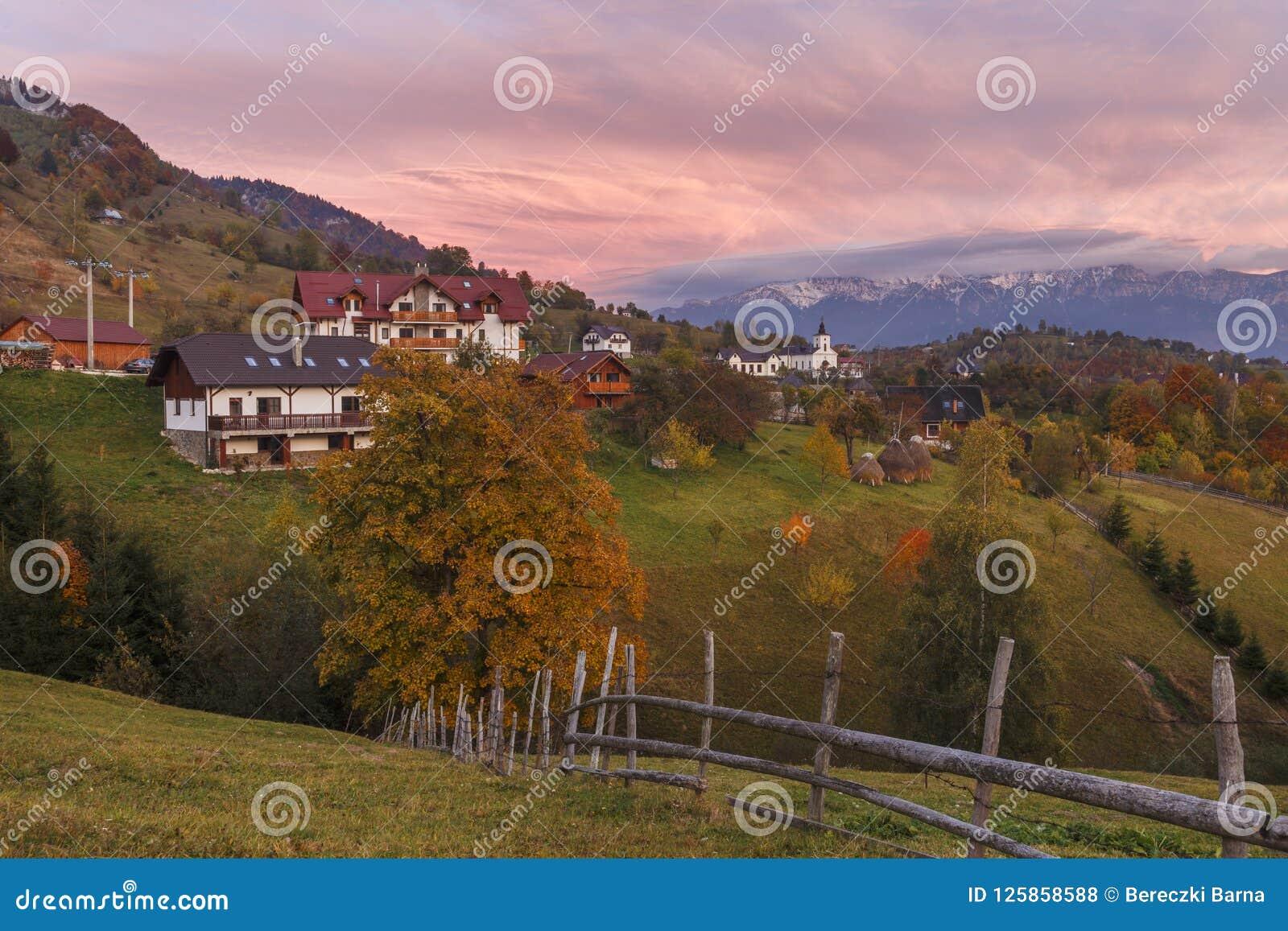 Autumn Alpine Landscape, Alpine Village With Spectacular Gardens And ...