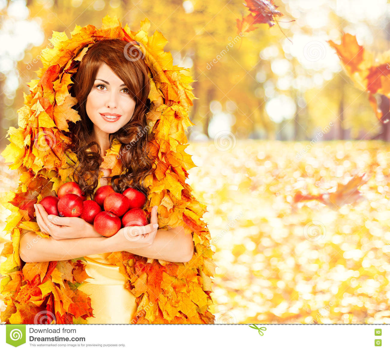 Autumn Apples, Fashion Woman Fruits Fall Leaves Clothes