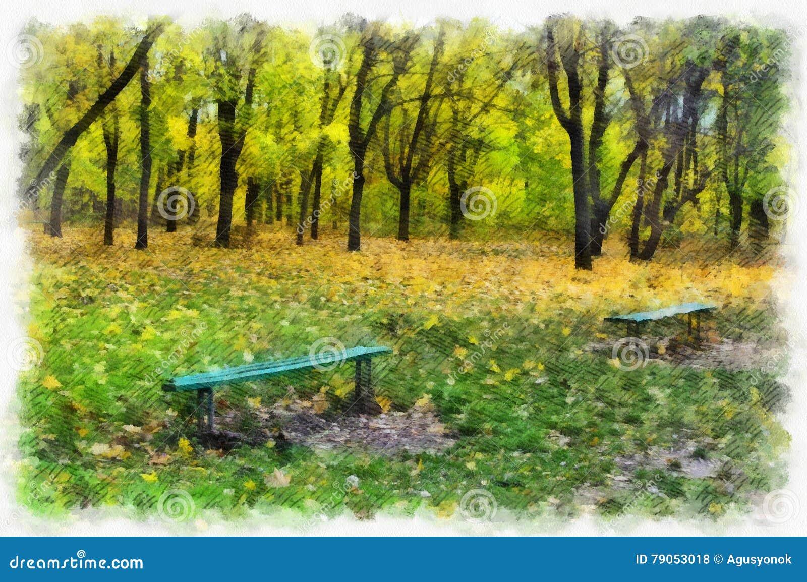 Autumn Background Beautiful Colorful Forest Landscape Nature Park ...