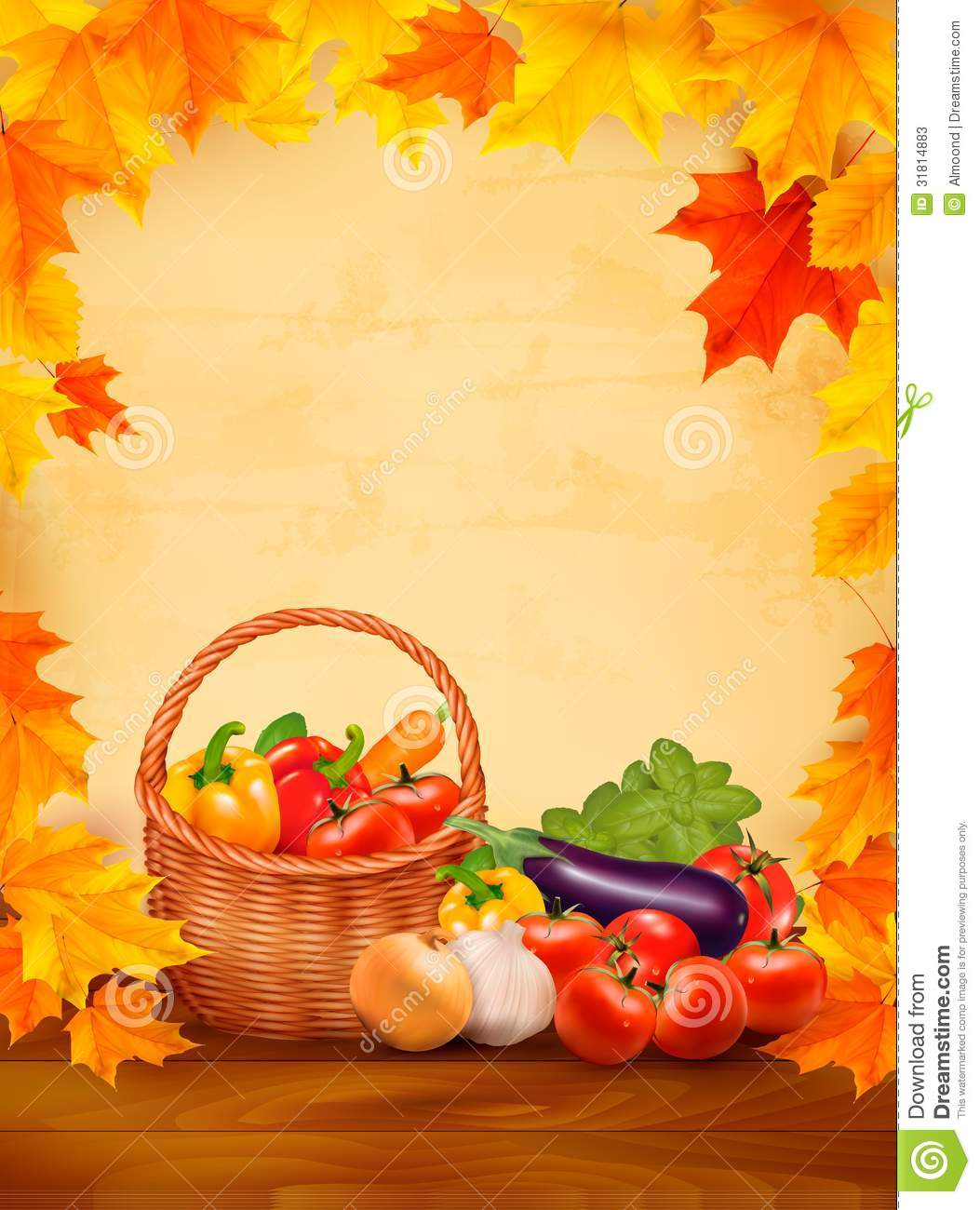 Autumn Background With Fresh Vegetables In Basket Stock