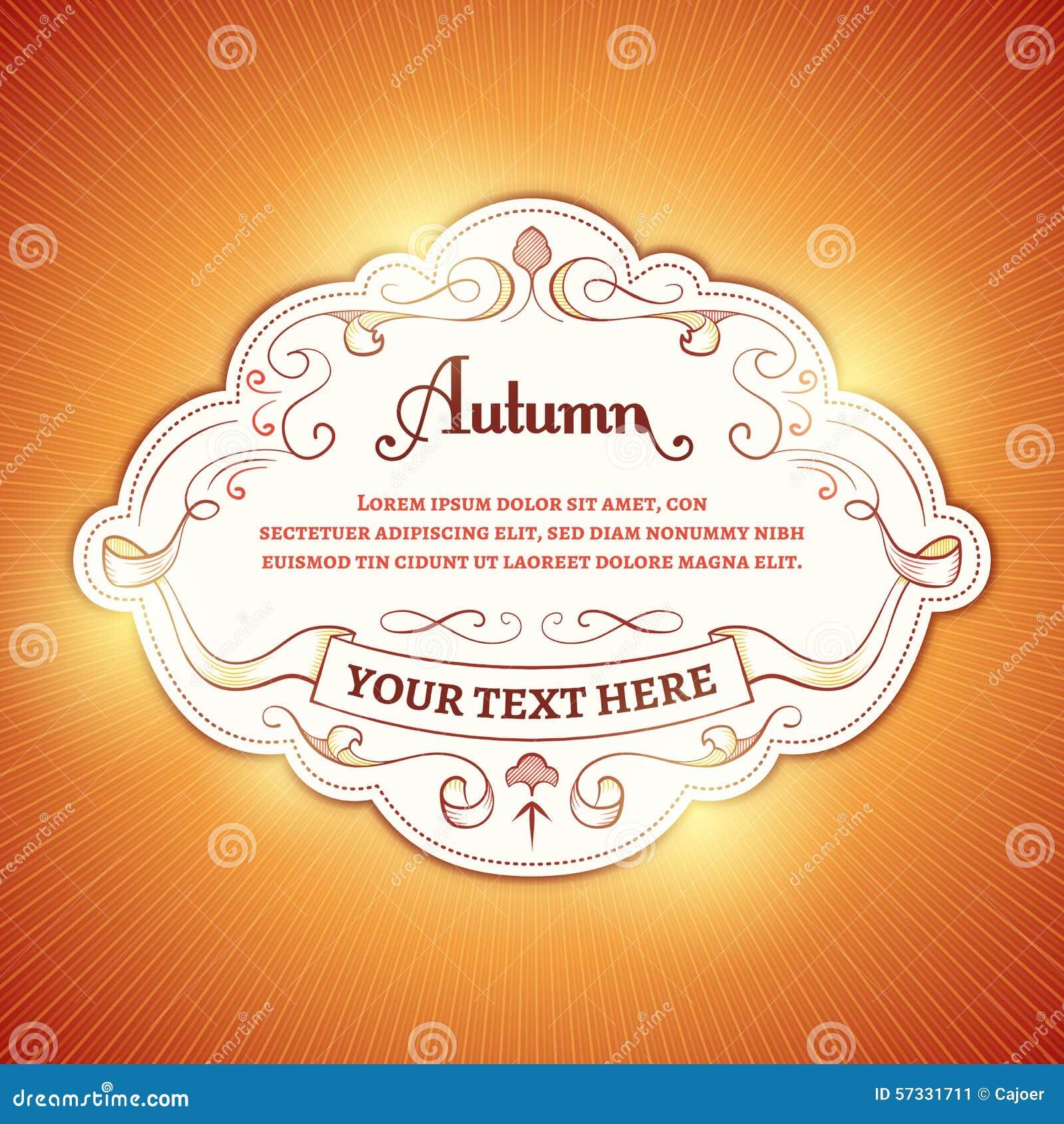 autumn background met een wit etiket op een oranje achtergrond